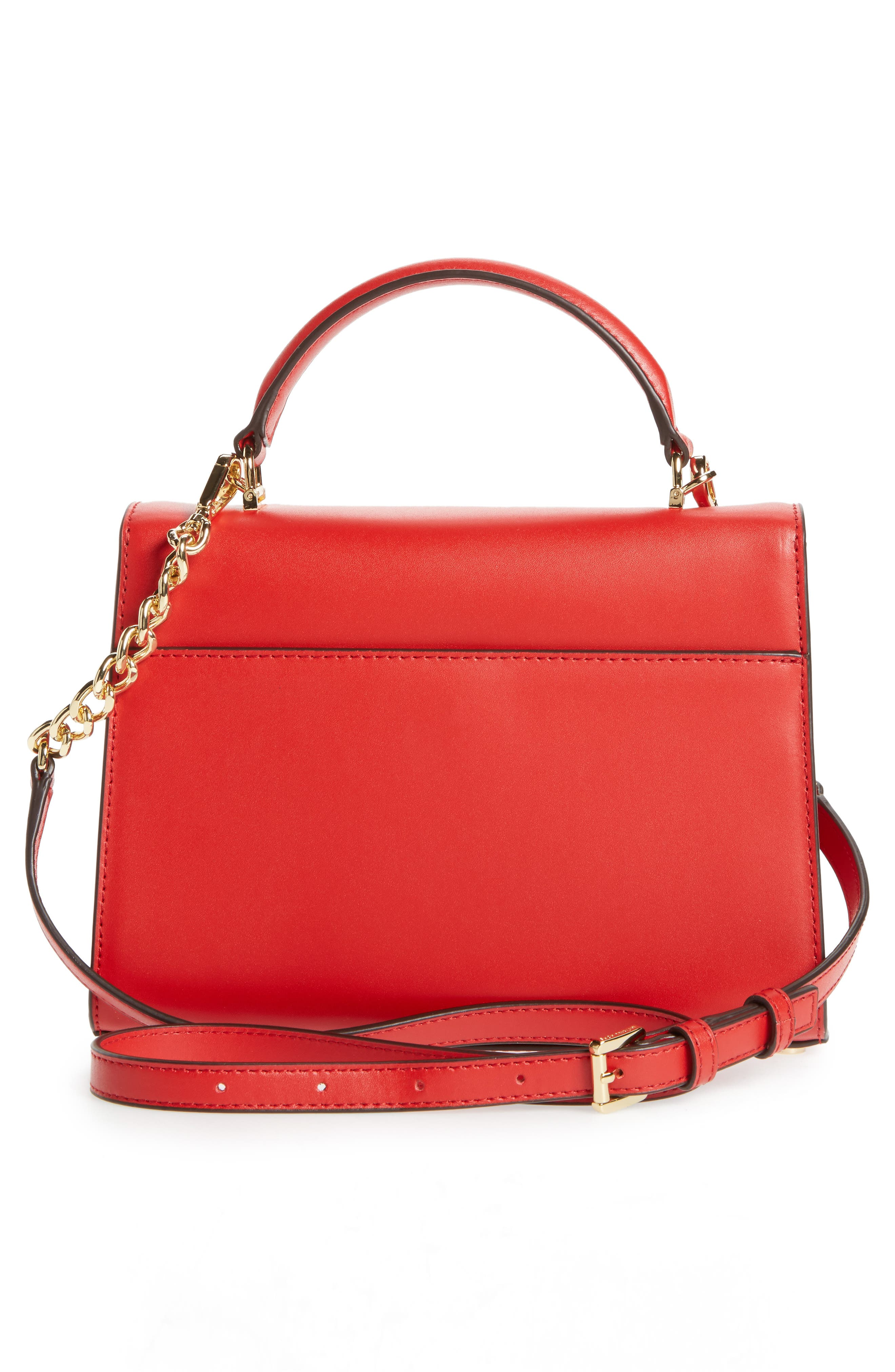 MICHAEL Michael Kors Medium Sloan Leather Satchel,                             Alternate thumbnail 3, color,                             Bright Red