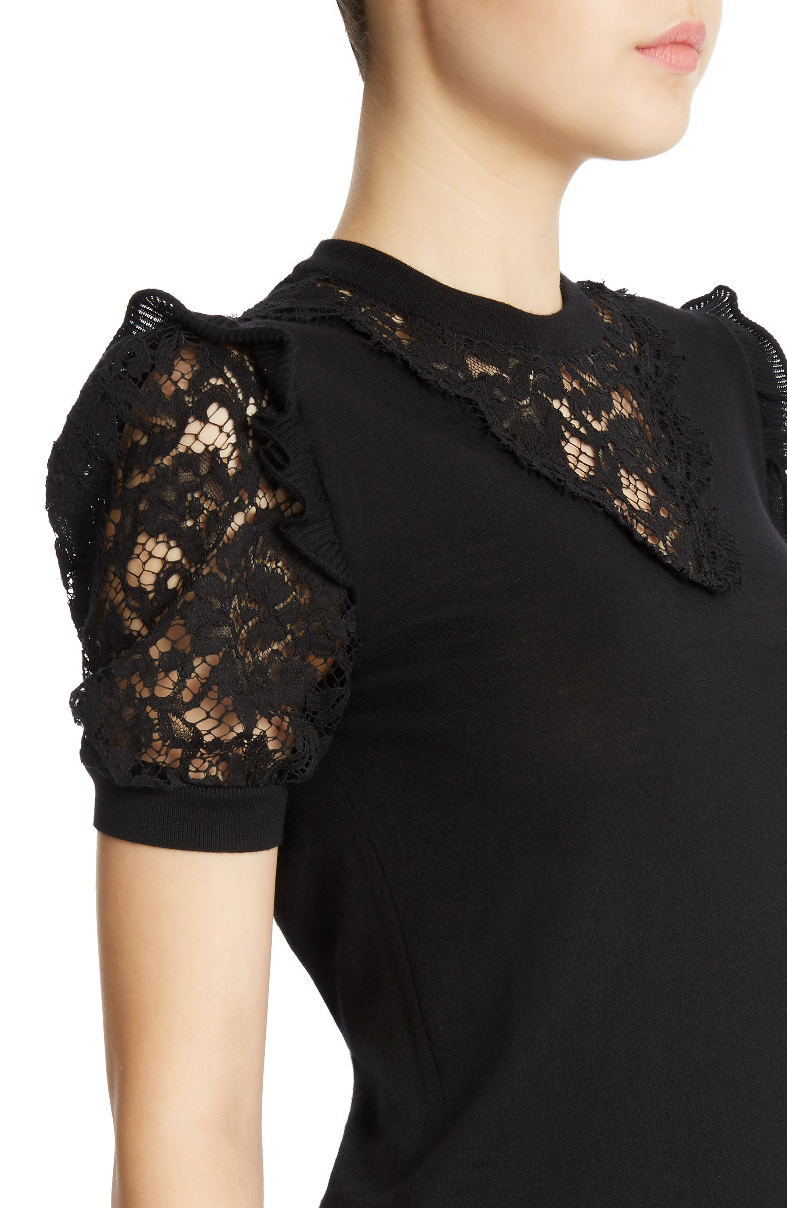 Lace Inset Wool Blend Sweater,                             Alternate thumbnail 4, color,                             Black