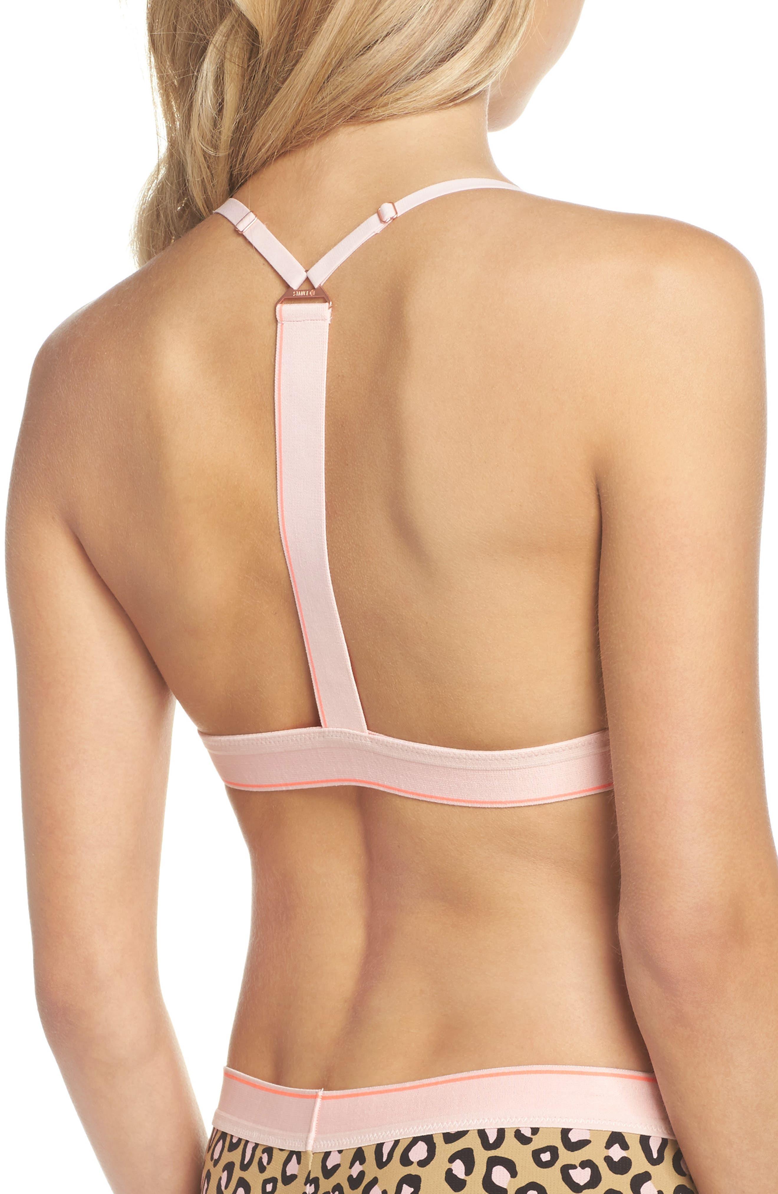 Feline T-Back Bralette,                             Alternate thumbnail 2, color,                             Pink Multi