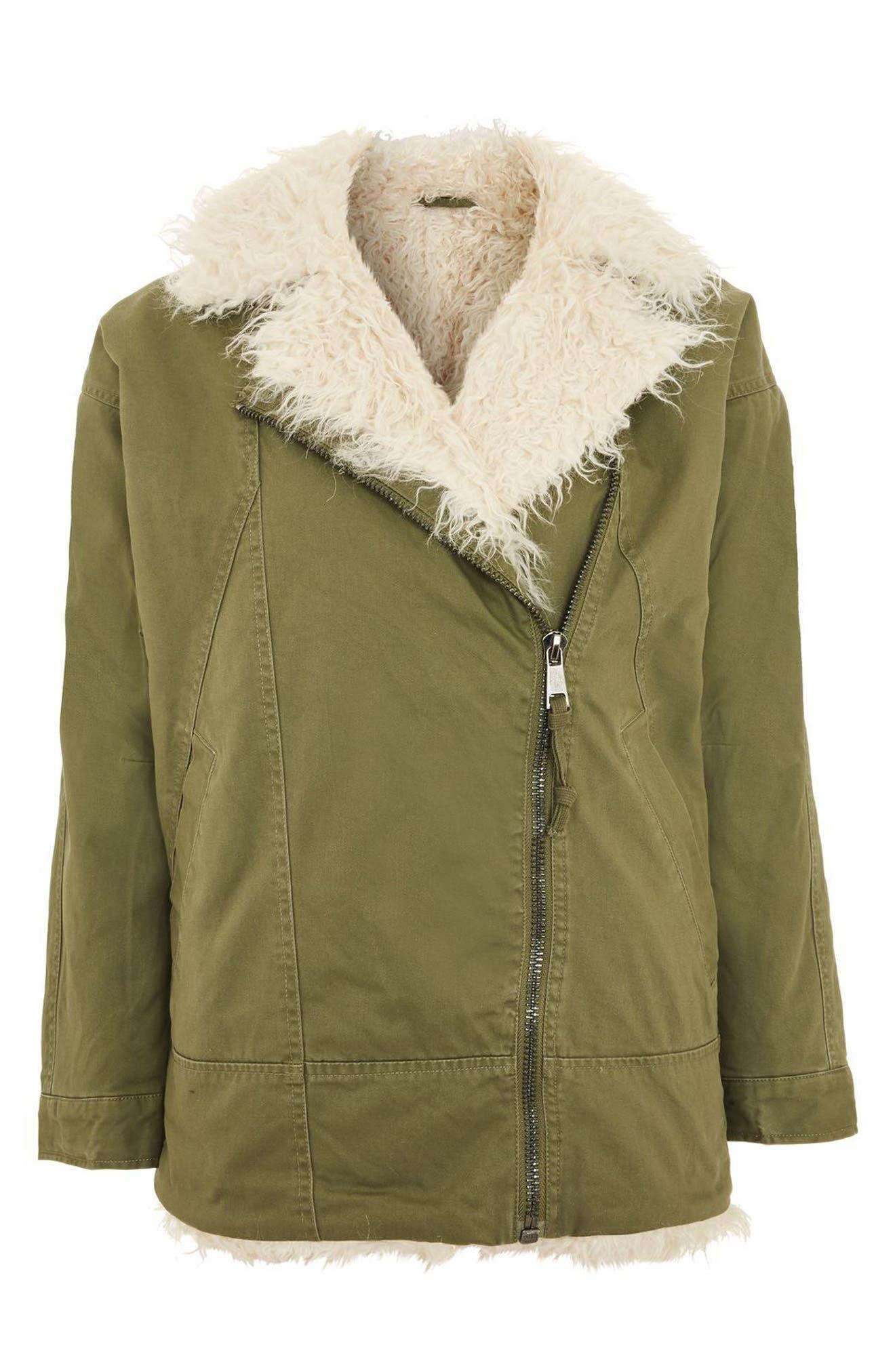 Alternate Image 4  - Topshop Jake Faux Fur Lined Jacket
