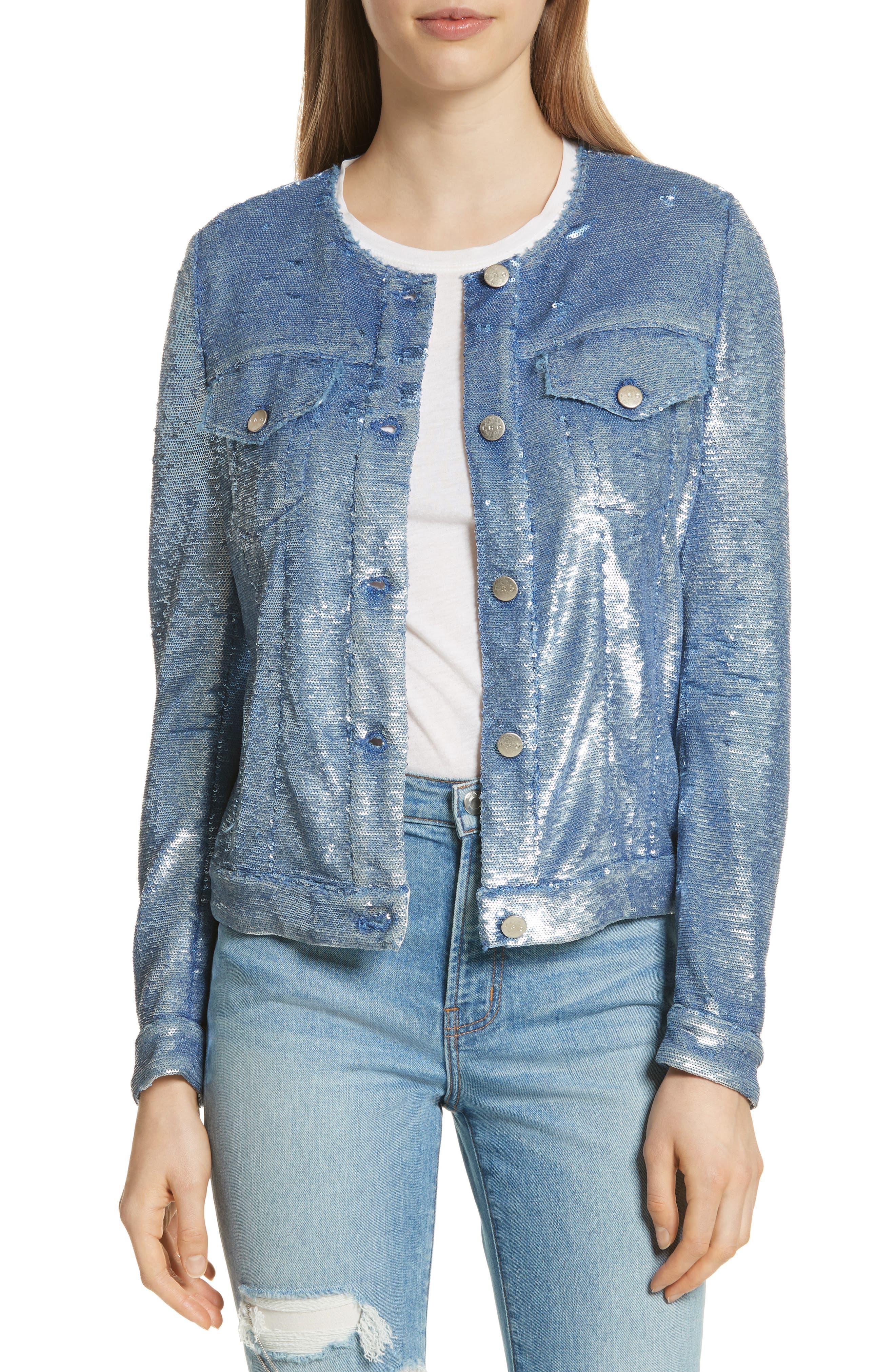 Dalome Sequin Jacket,                             Main thumbnail 1, color,                             Blushed Blue