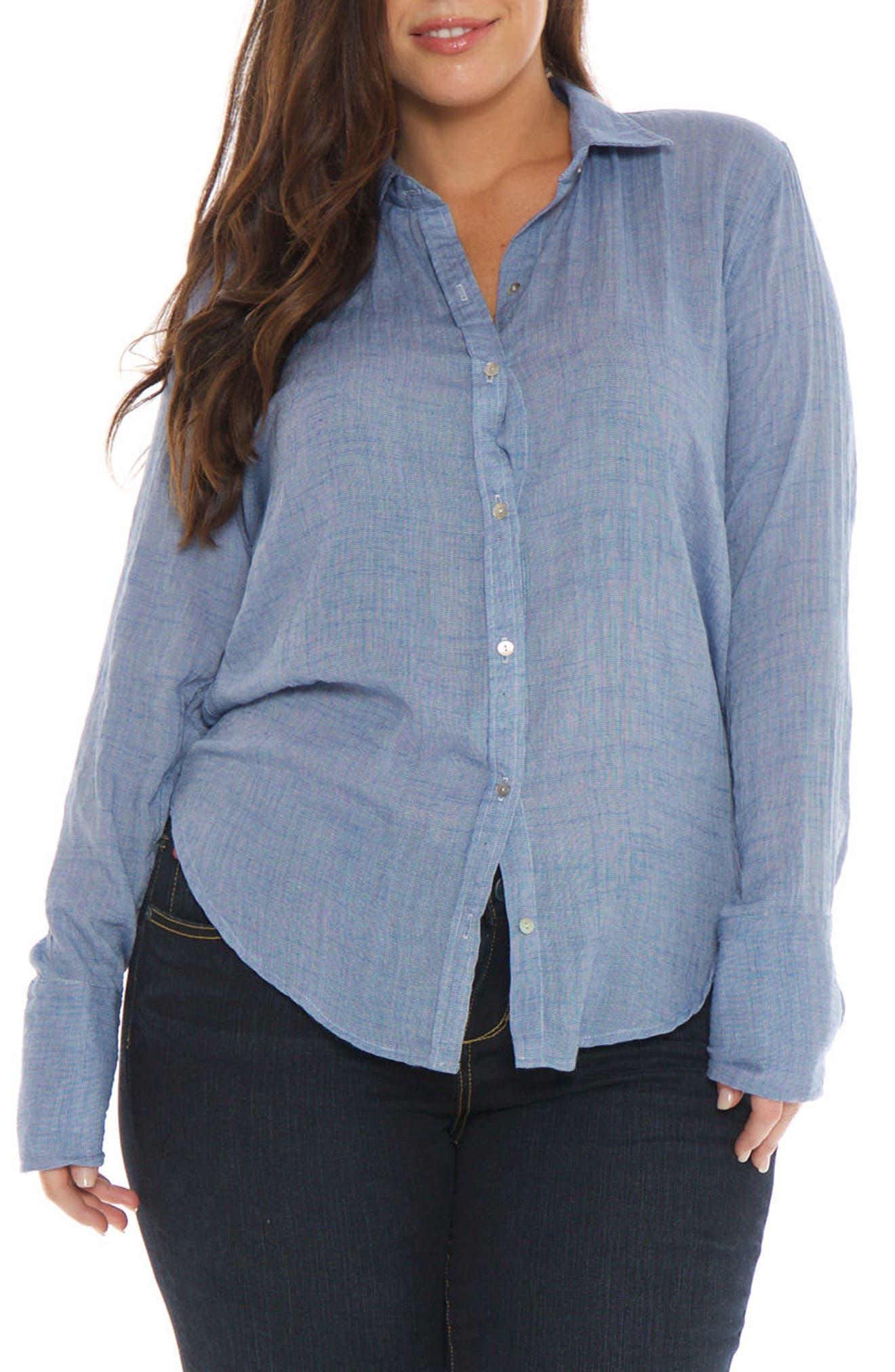 Crinkle Woven Shirt,                         Main,                         color, Chambray