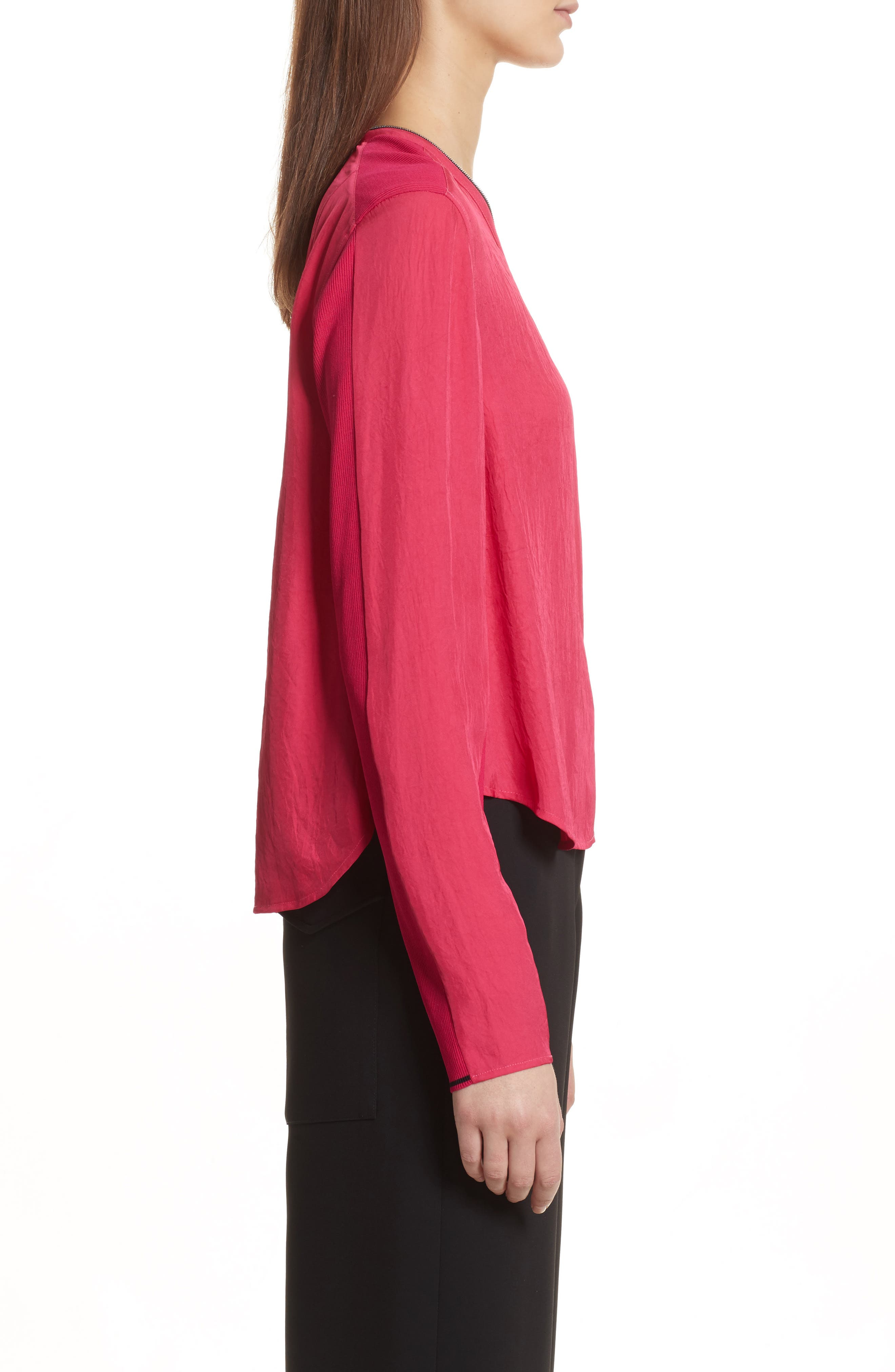 Vanessa Zip Front Blouse,                             Alternate thumbnail 3, color,                             Bright Rose