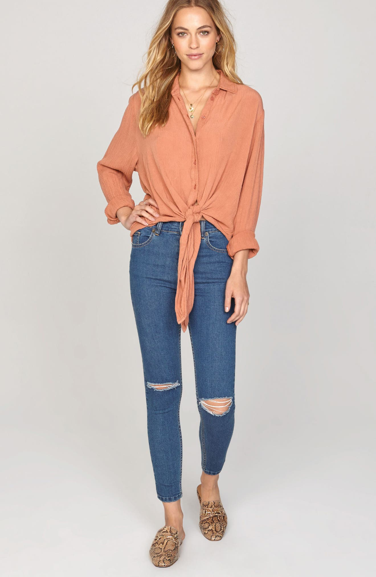 C'est La Vie Knotted Shirt,                             Alternate thumbnail 2, color,                             Rose Dawn