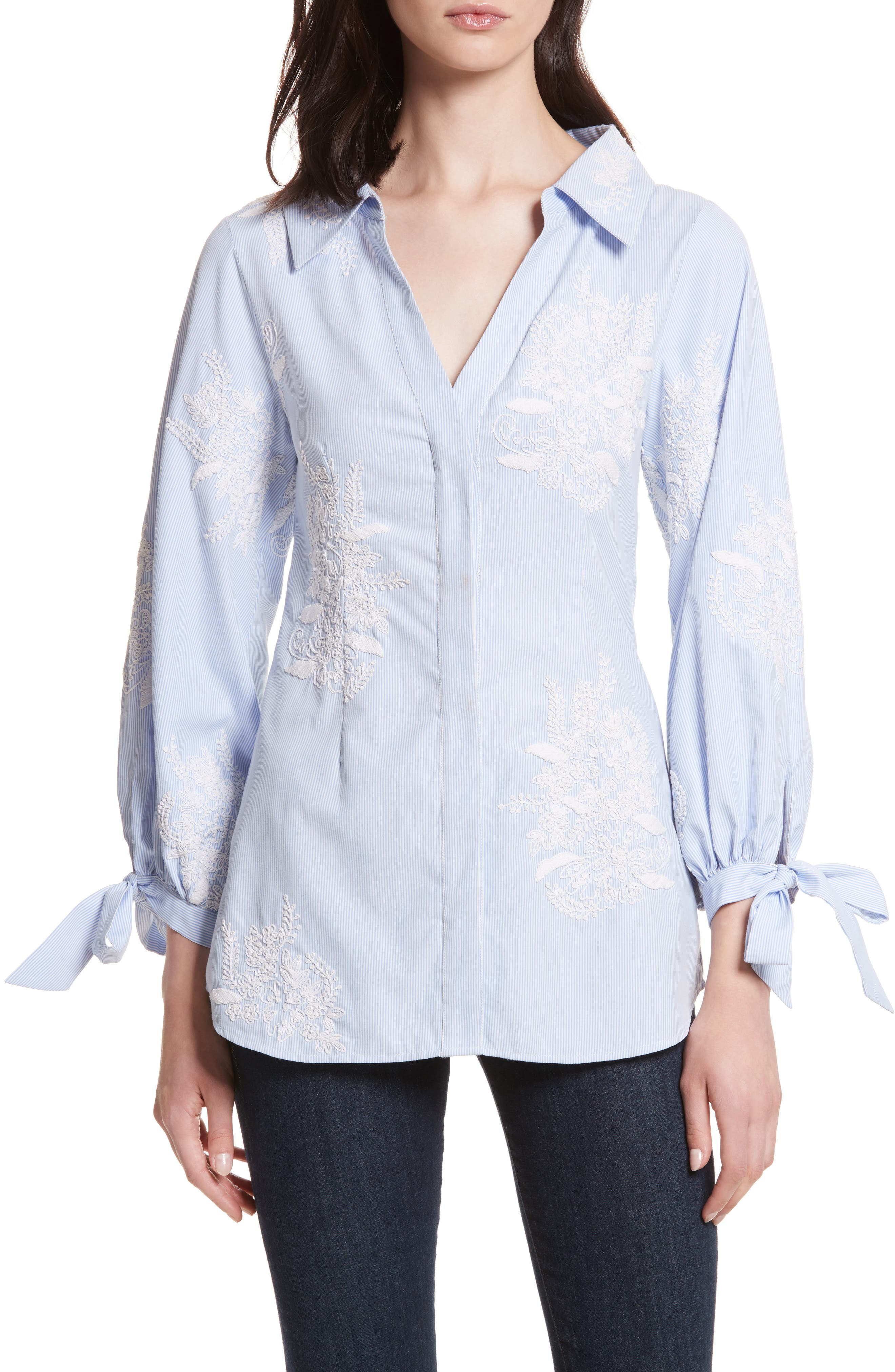 Toro Embroidered Tie Sleeve Blouse,                         Main,                         color, Blue/ White