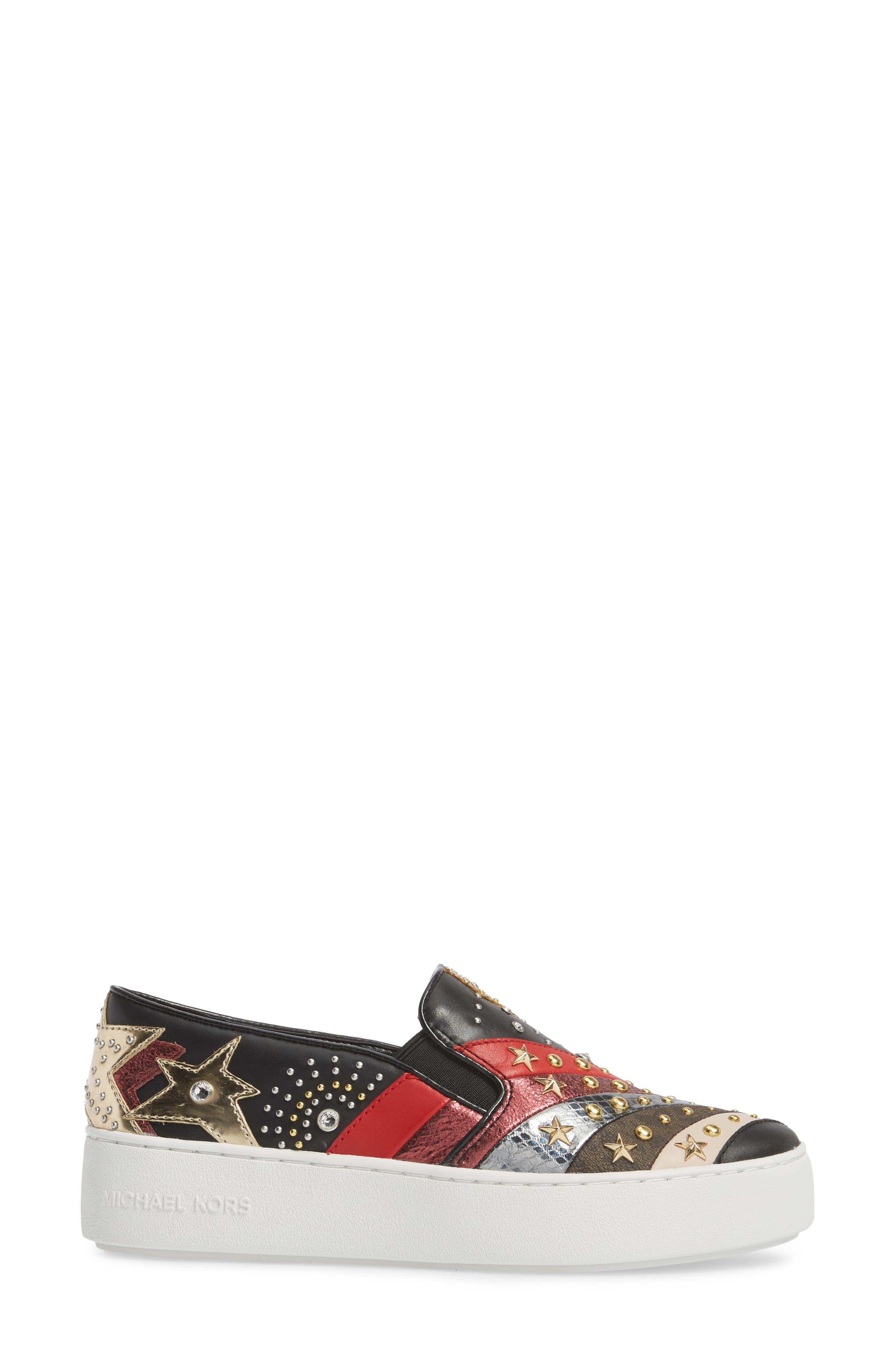 Trent Slip-On Sneaker,                             Alternate thumbnail 3, color,                             Black Firework Print