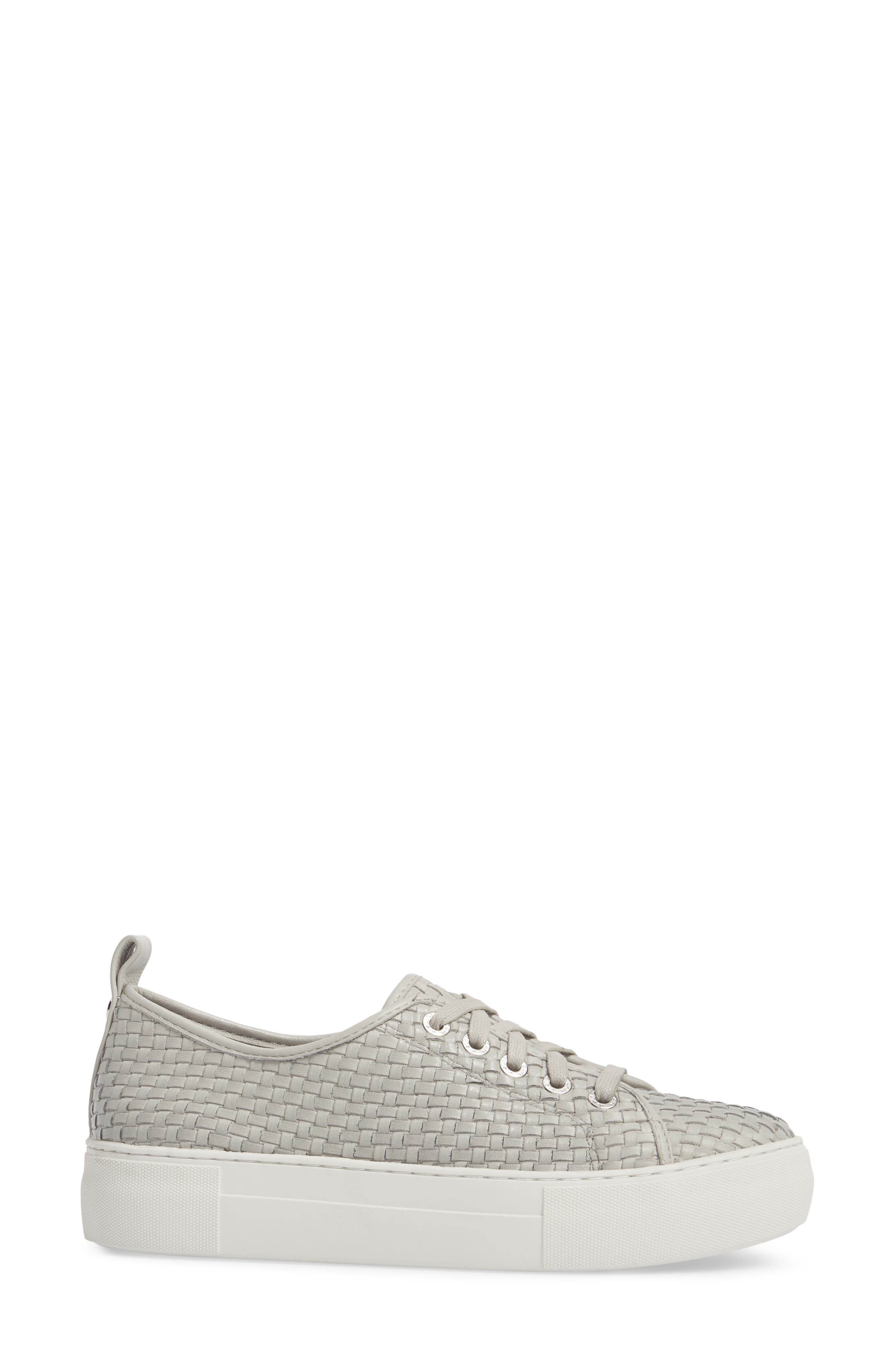 Artsy Woven Platform Sneaker,                             Alternate thumbnail 3, color,                             Pale Grey Leather