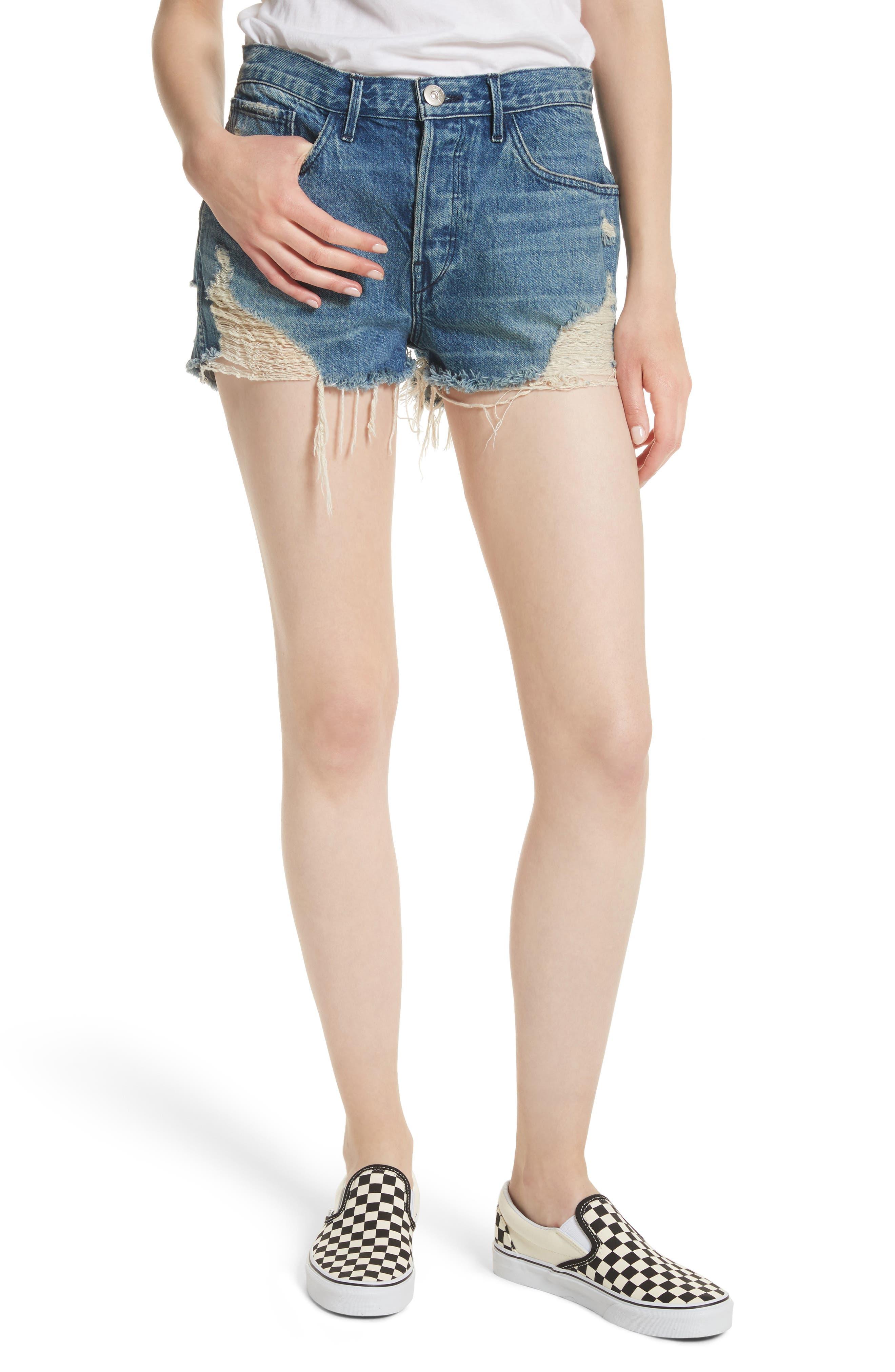 W4 Carter Ripped High Waist Denim Shorts,                         Main,                         color, Elmar