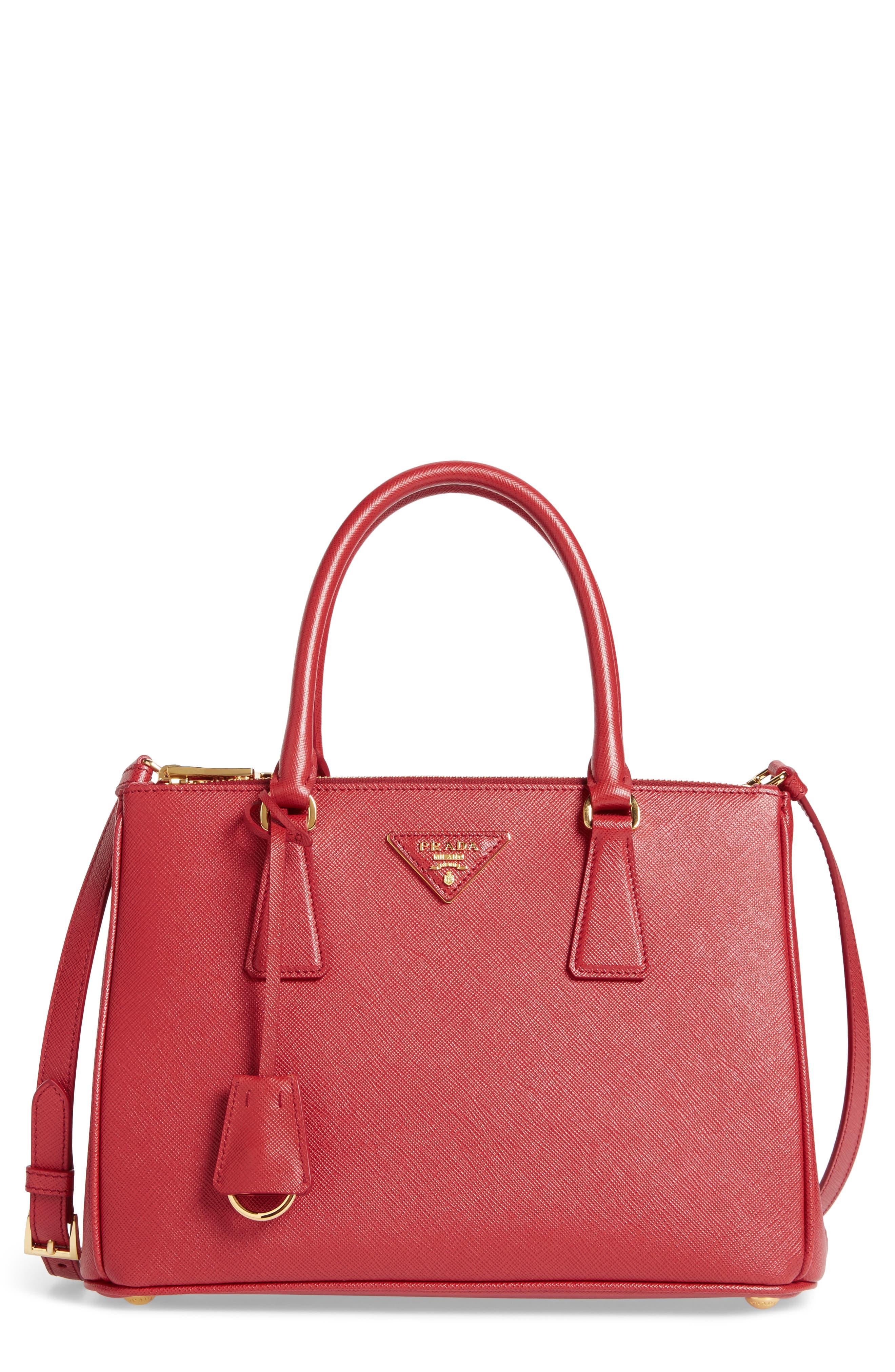 Saffiano Lux Leather Satchel,                         Main,                         color, Fuoco