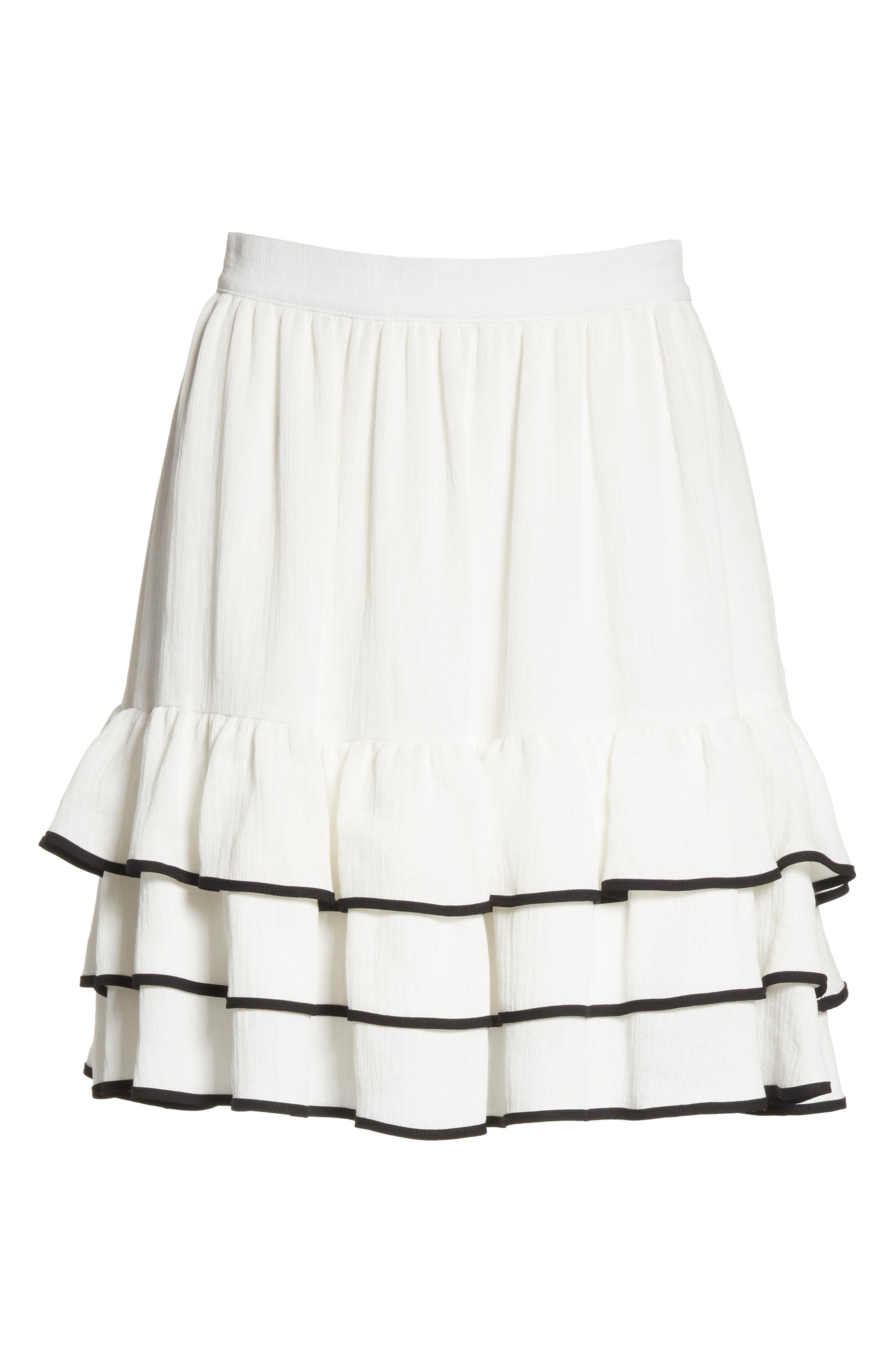 Prose & Poetry Carice Ruffle Miniskirt,                             Alternate thumbnail 6, color,                             Alabaster