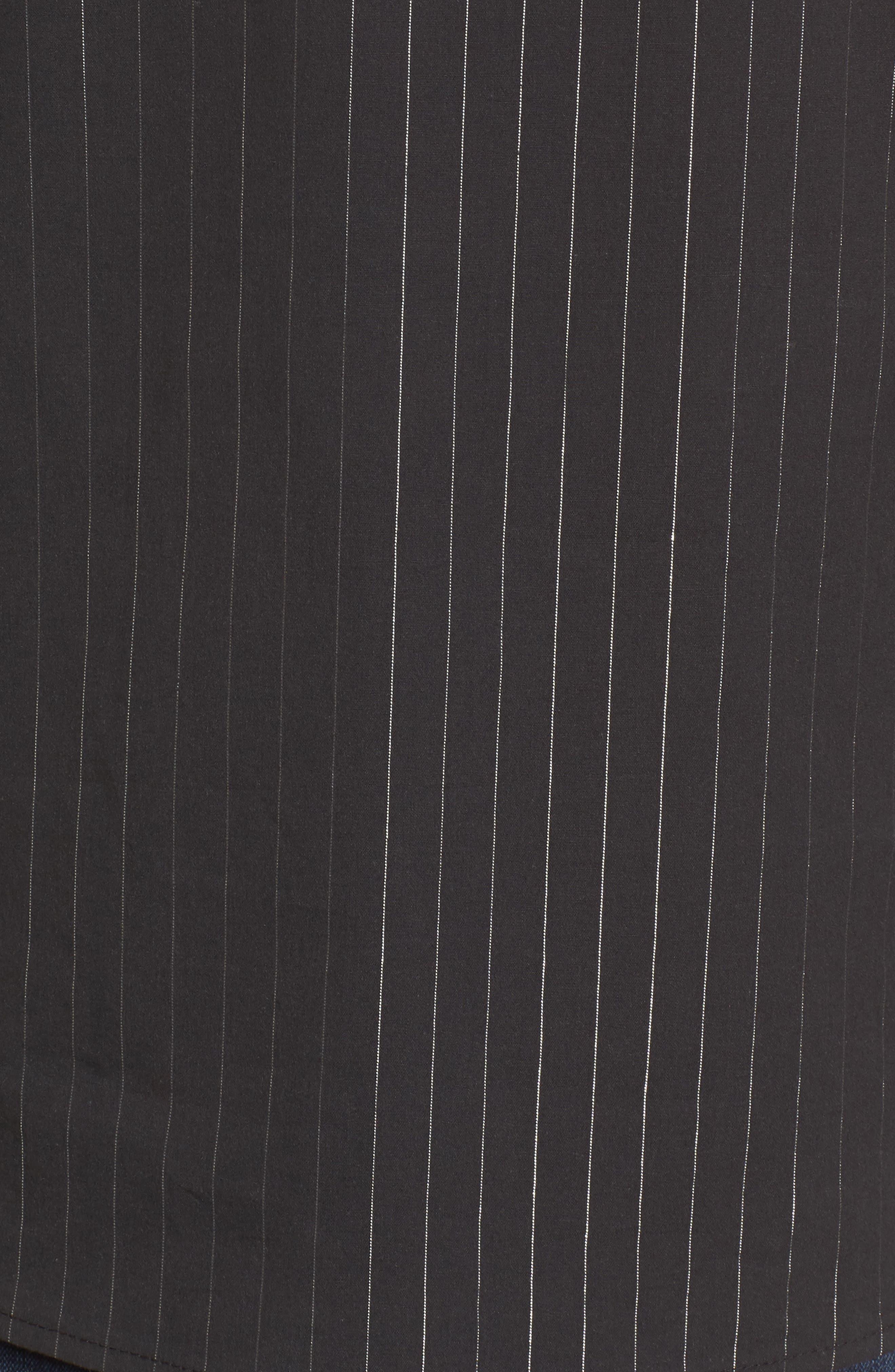 Ruched Sleeve Stripe Top,                             Alternate thumbnail 5, color,                             Black Wide Lurex Stripe