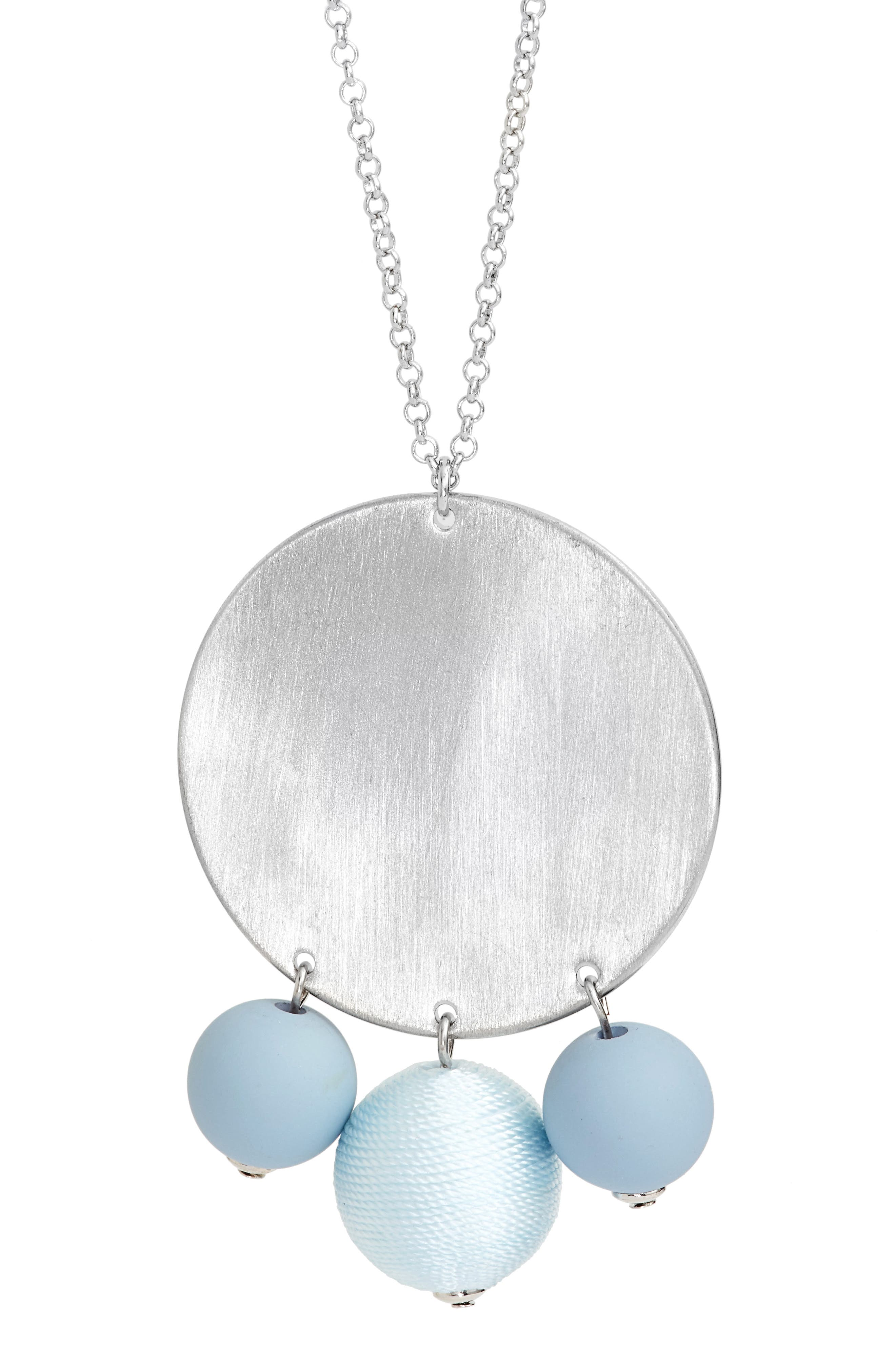 Threaded Disco Ball Statement Necklace,                             Alternate thumbnail 2, color,                             Blue/ Silver