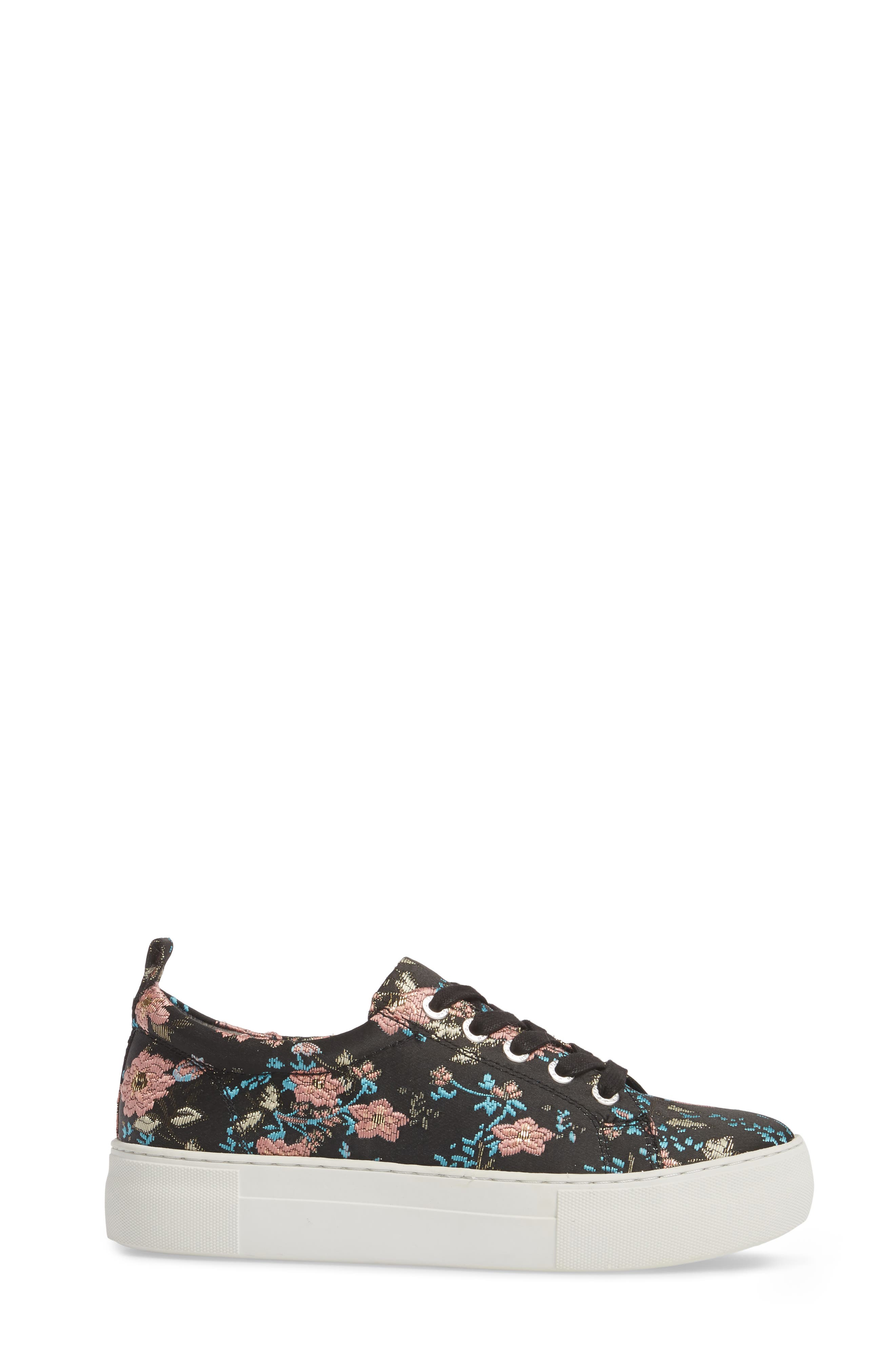 Assure Embroidered Platform Sneaker,                             Alternate thumbnail 3, color,                             Black Printed Fabric