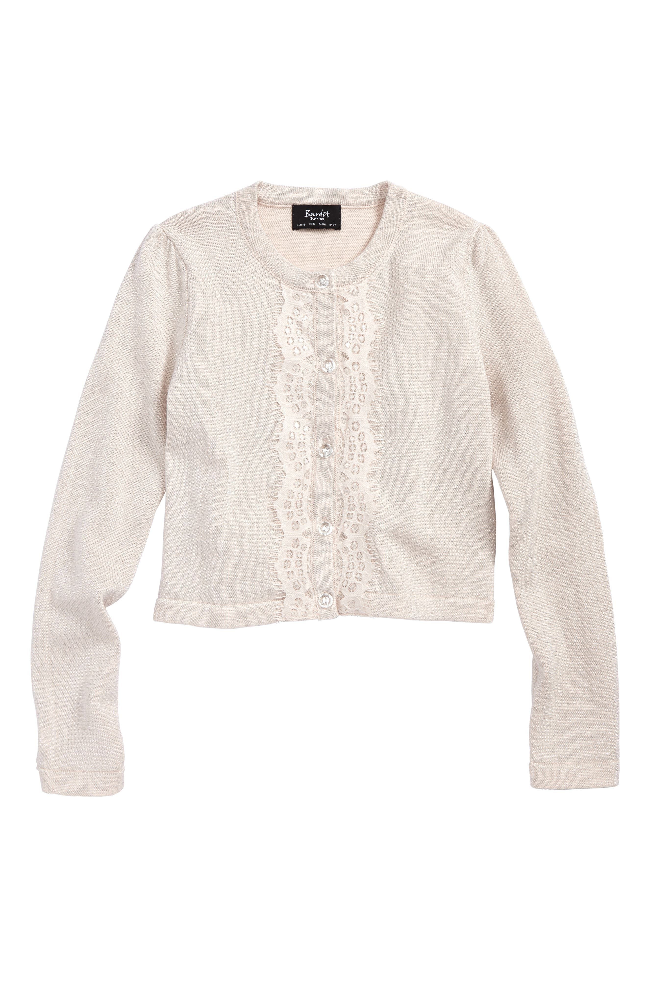 Bardot Junior Lace Trim Cardigan (Little Girls)