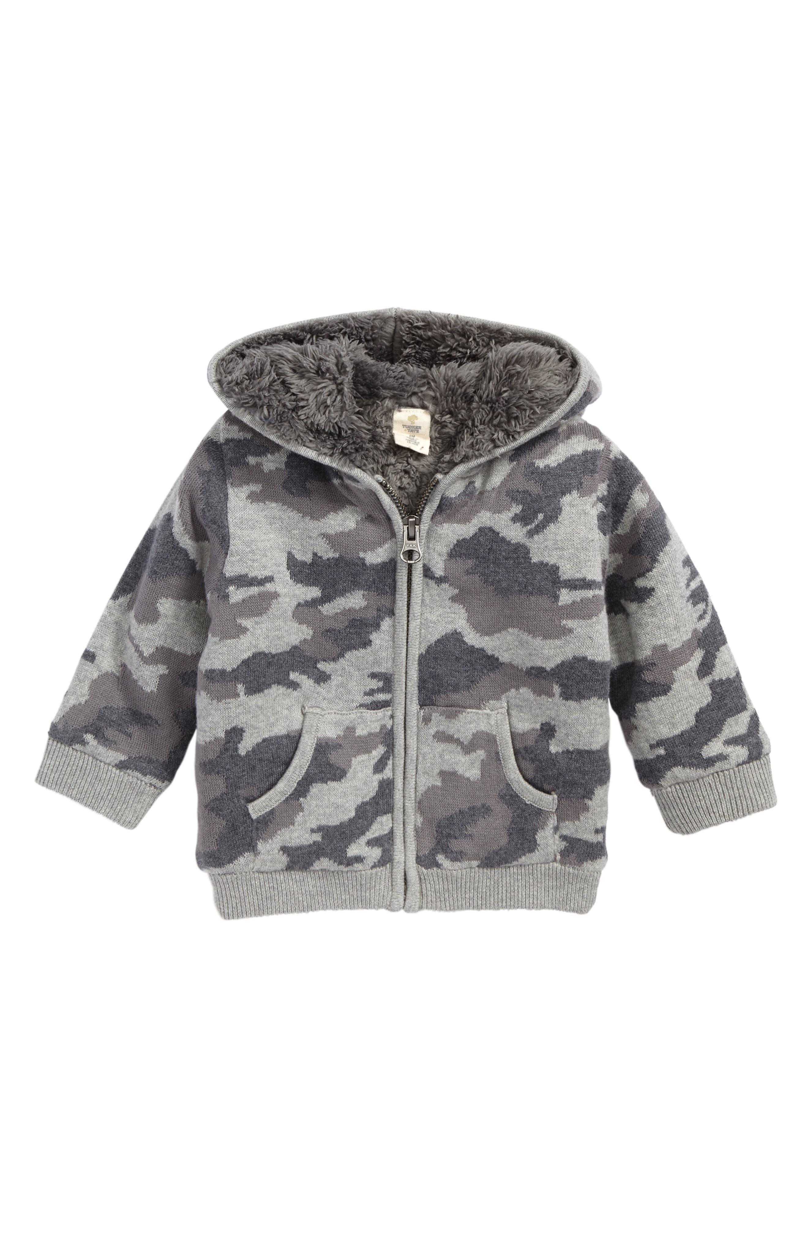 Camo Sweater Knit Hoodie,                         Main,                         color, Grey Alloy Camo