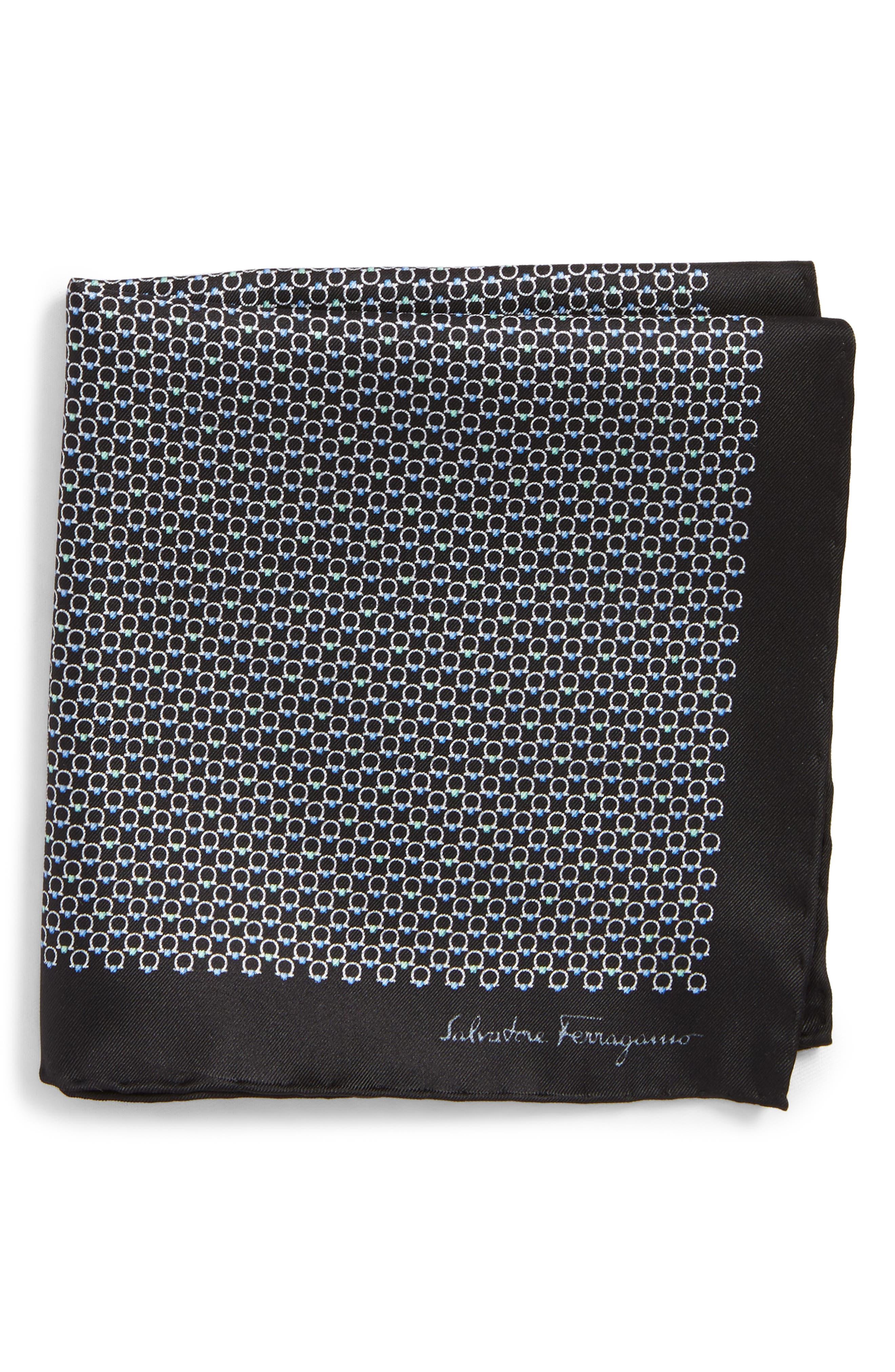 Energia Medallion Silk Pocket Square,                         Main,                         color, Black