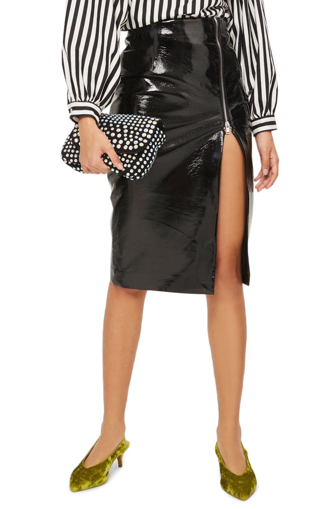 Split Vinyl Pencil Skirt,                             Main thumbnail 1, color,                             Black