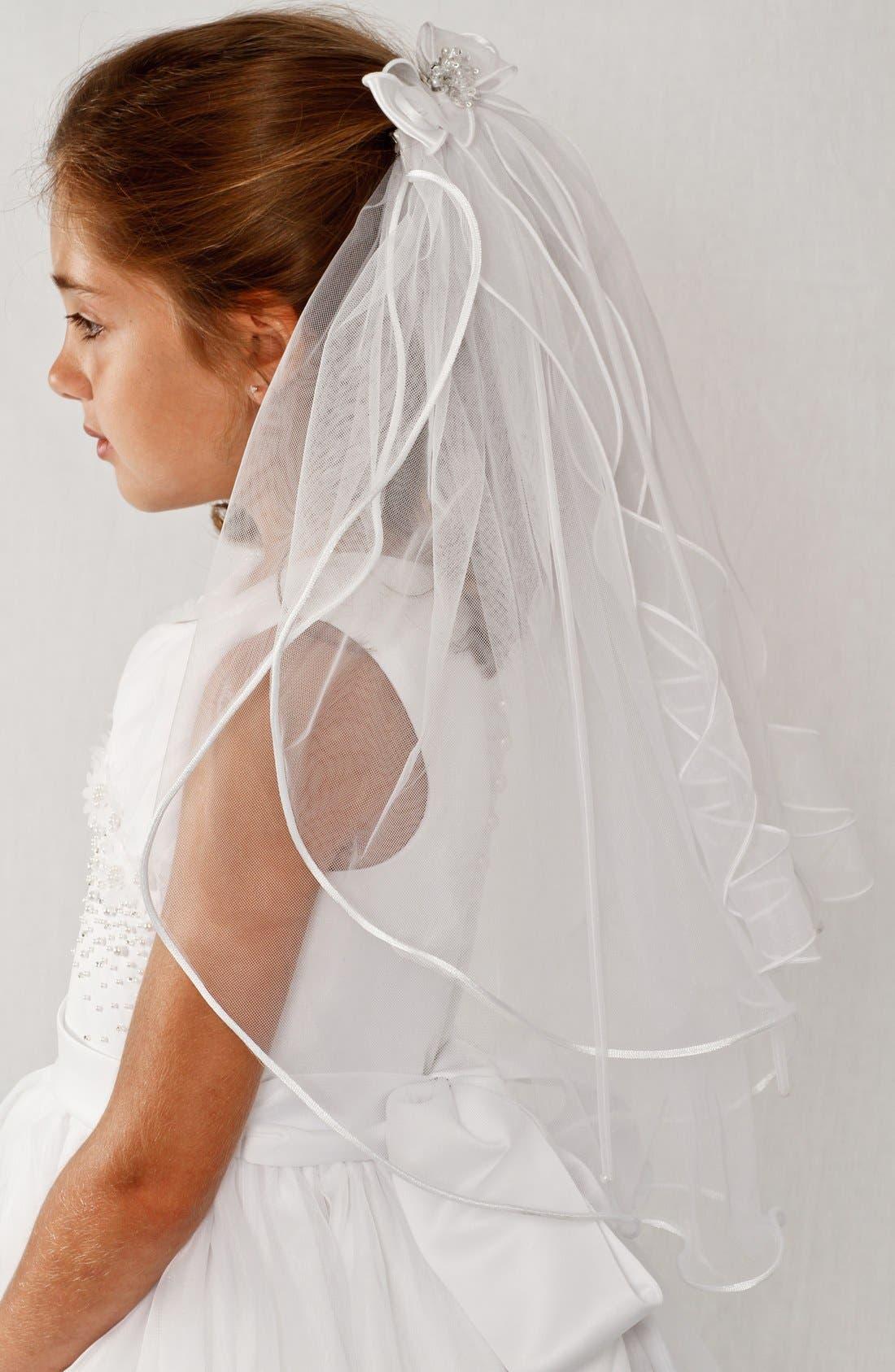 Alternate Image 3  - Lauren Marie Organza Bow Veil (Girls)