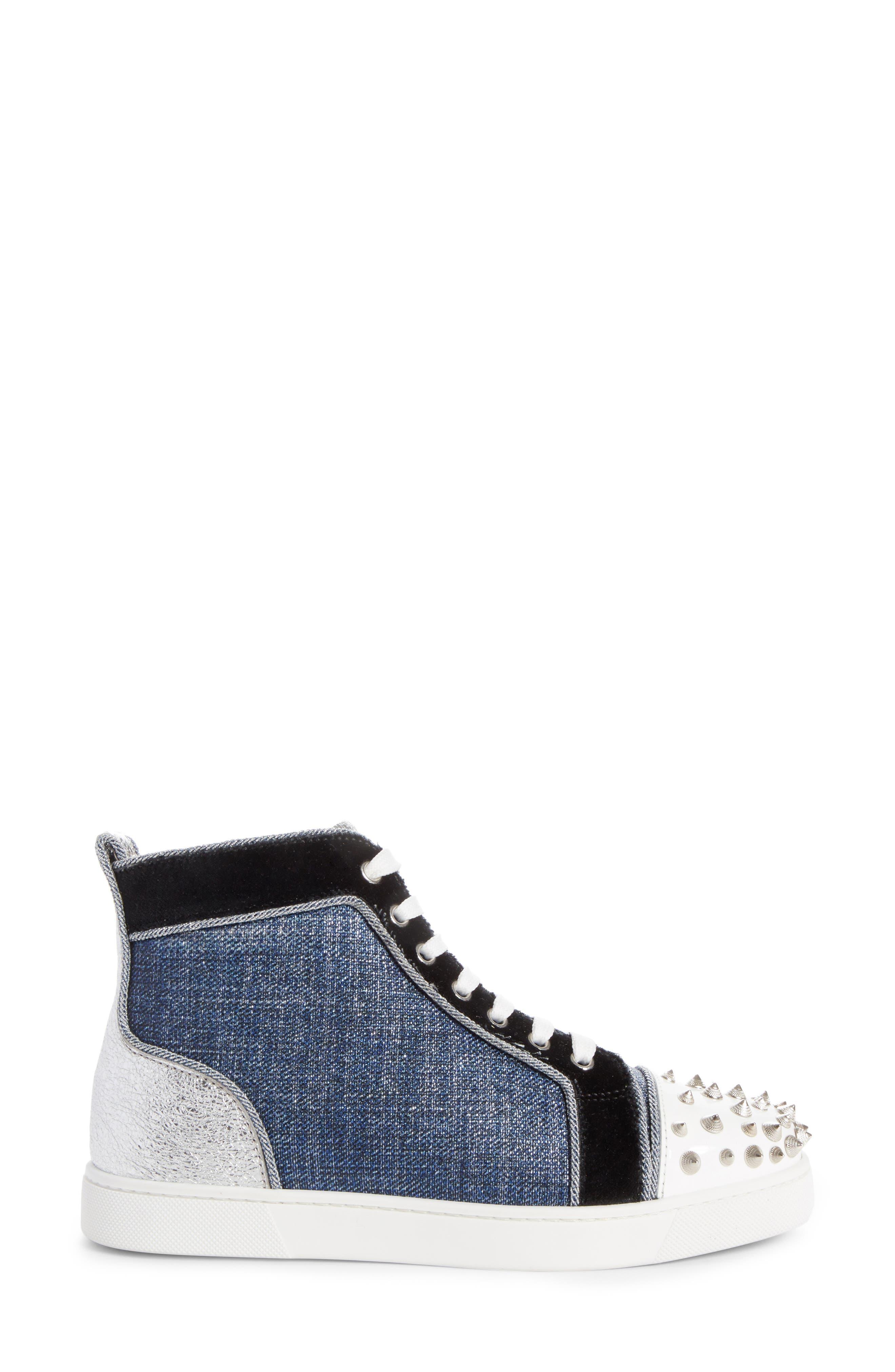 Lou Degra Spiked High Top Sneaker,                             Alternate thumbnail 3, color,                             Denim/ Silver