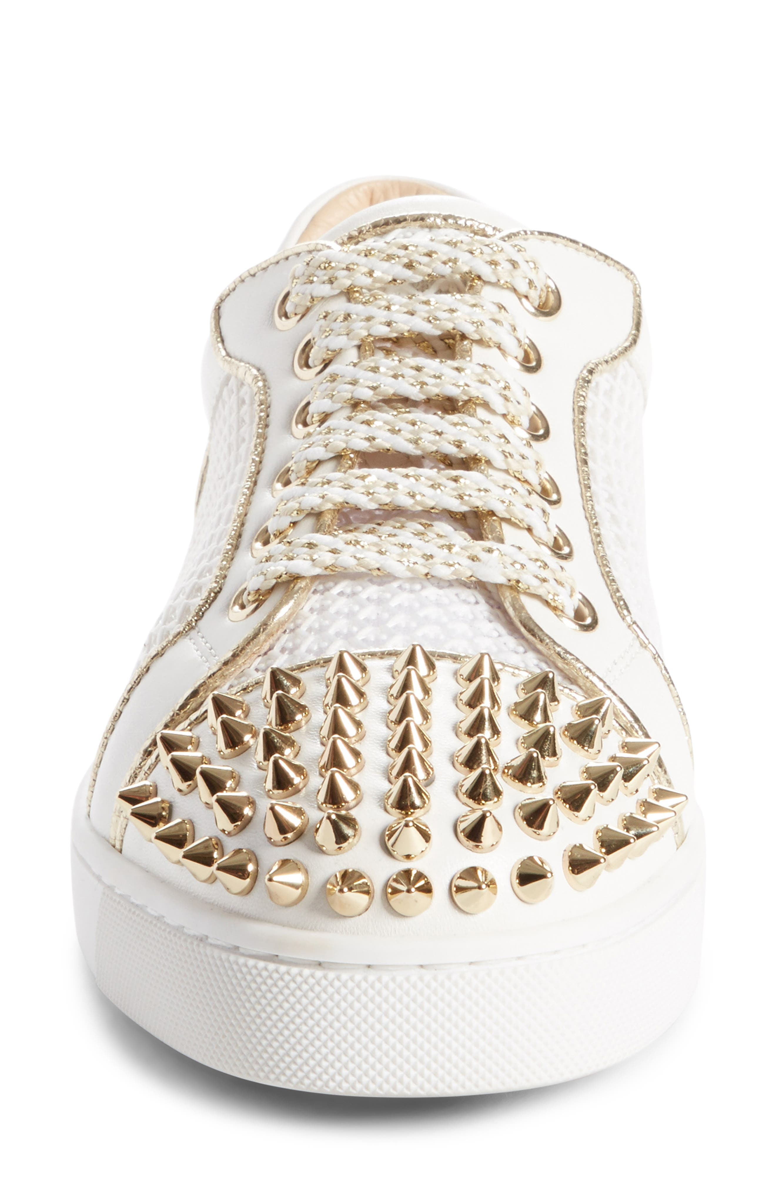 Vieira Spiked Low Top Sneaker,                             Alternate thumbnail 4, color,                             Latte/ Light Gold