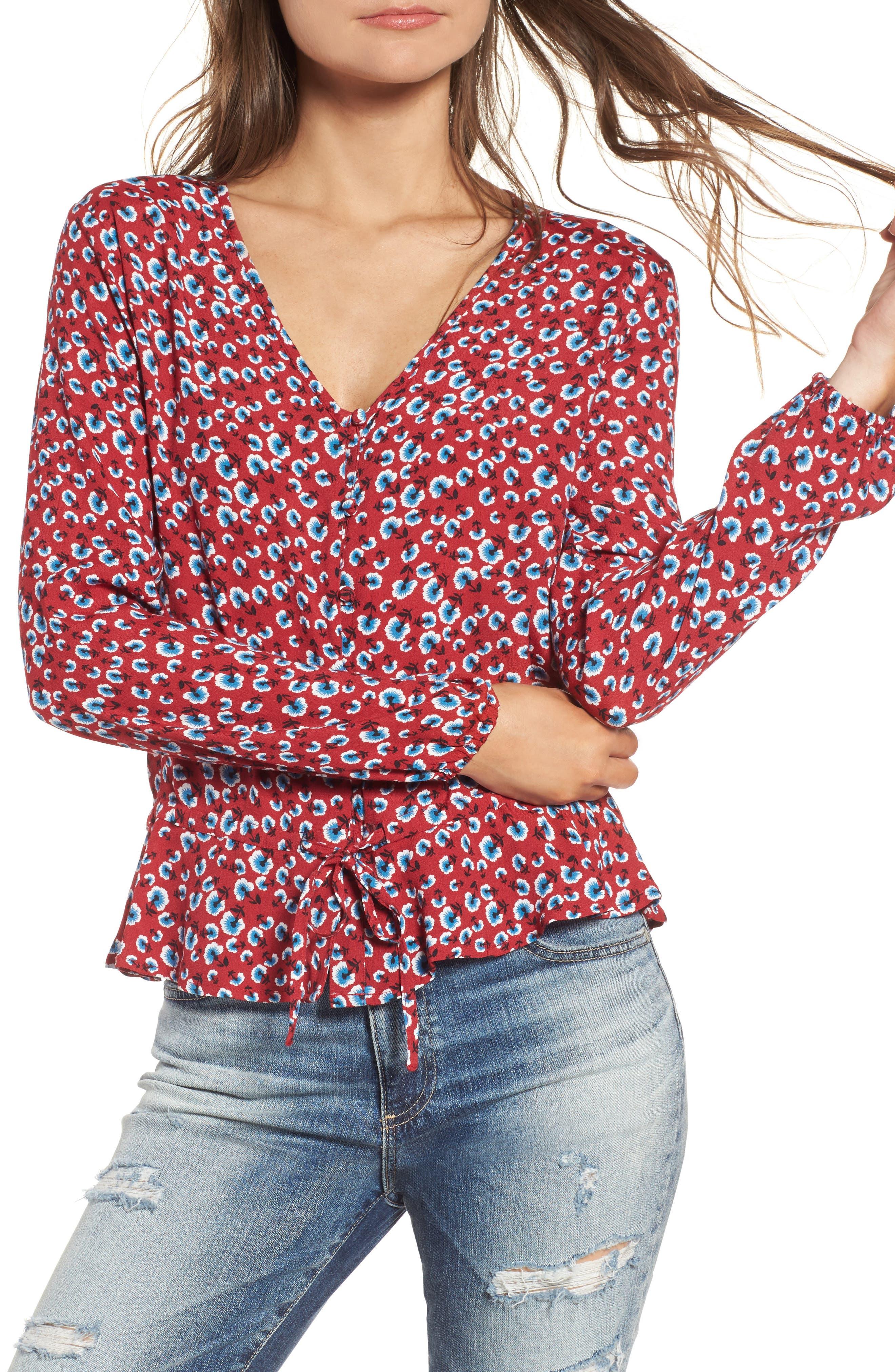 Beaux Print Blouse,                         Main,                         color, Red Floral
