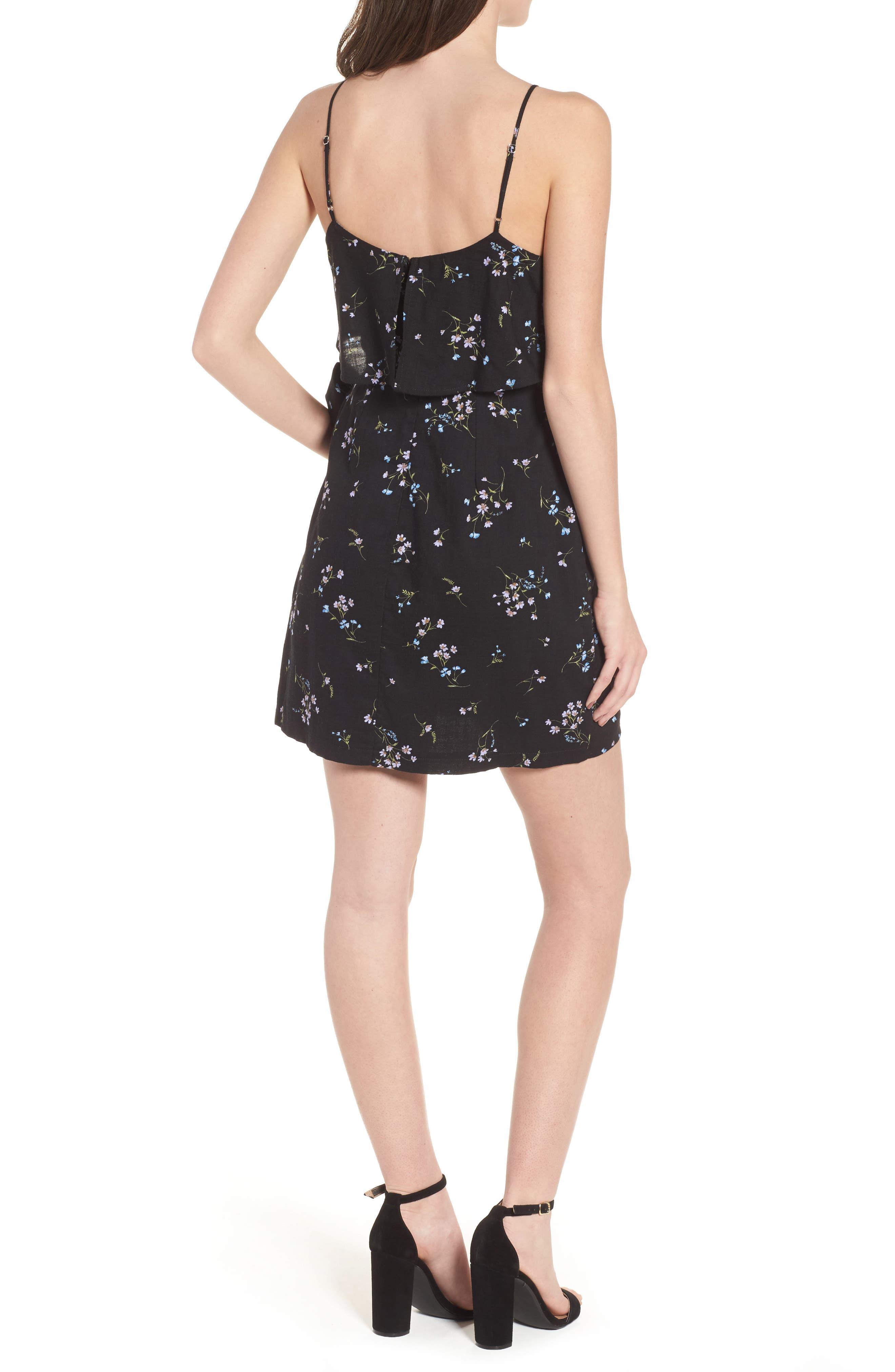 Popover Wrap Front Dress,                             Alternate thumbnail 2, color,                             Black Floral