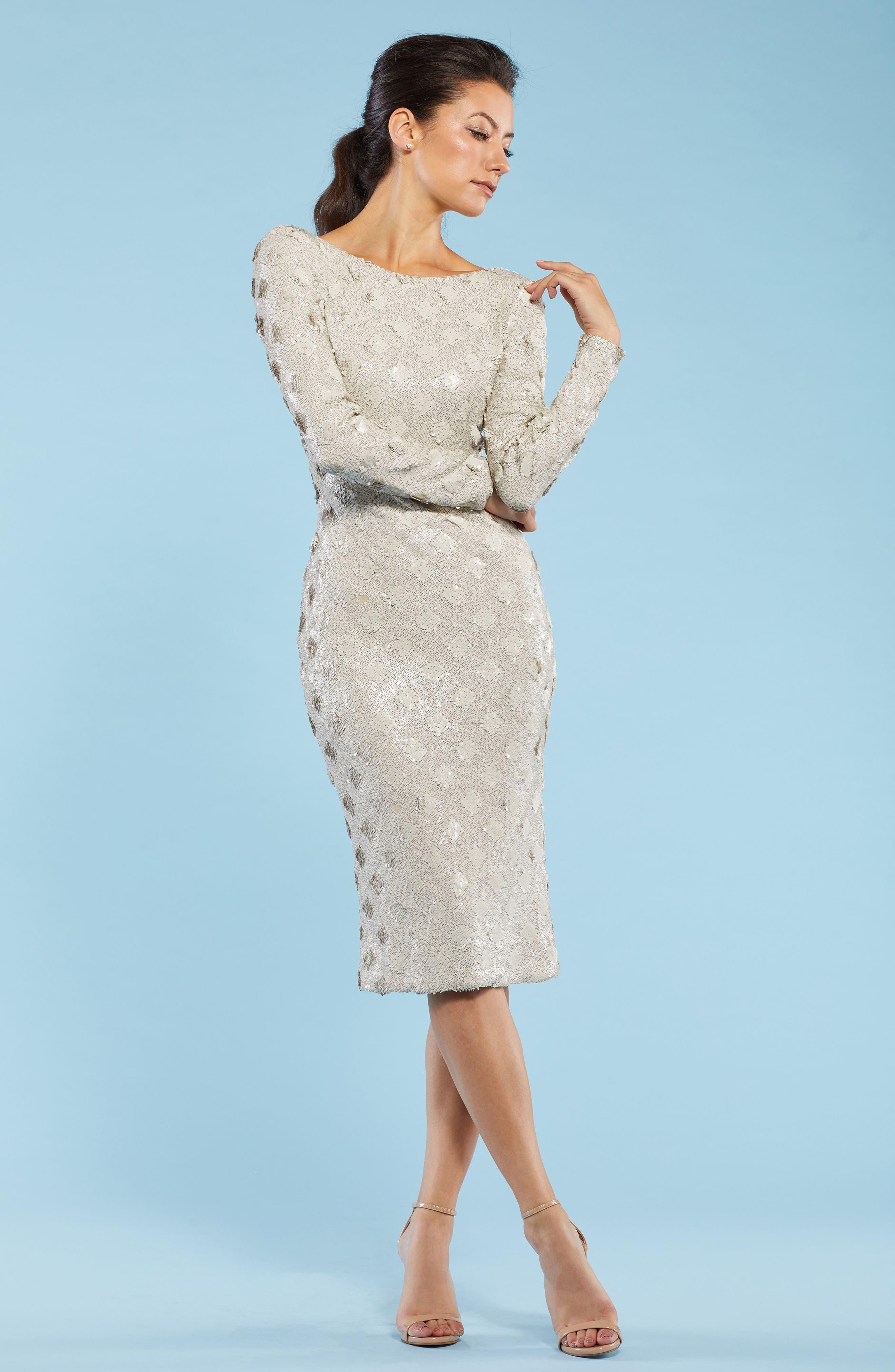 Emery Sequin Sheath Dress,                             Alternate thumbnail 2, color,                             Bone