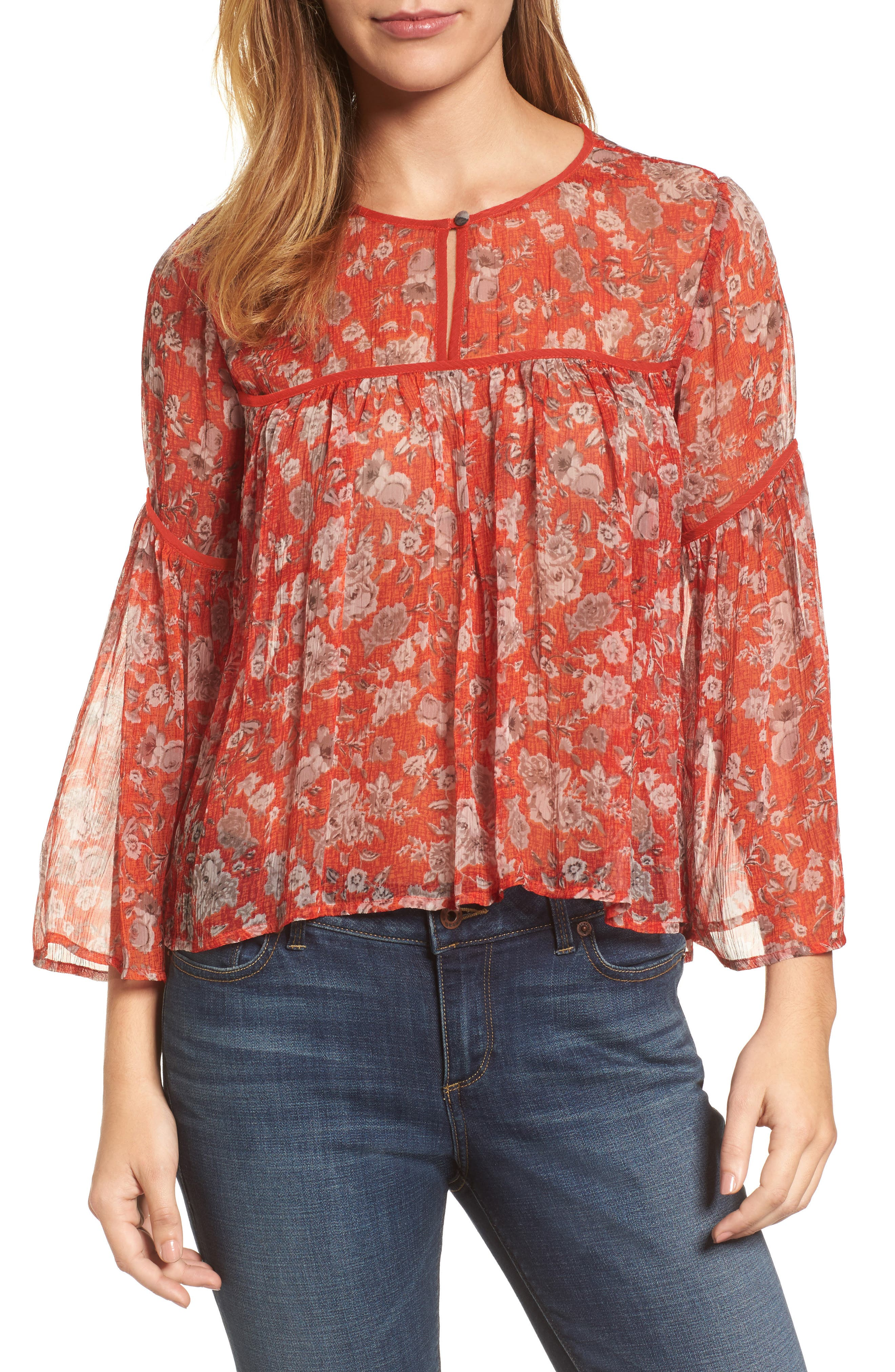 Floral Print Bell Sleeve Top,                             Main thumbnail 1, color,                             Red Multi