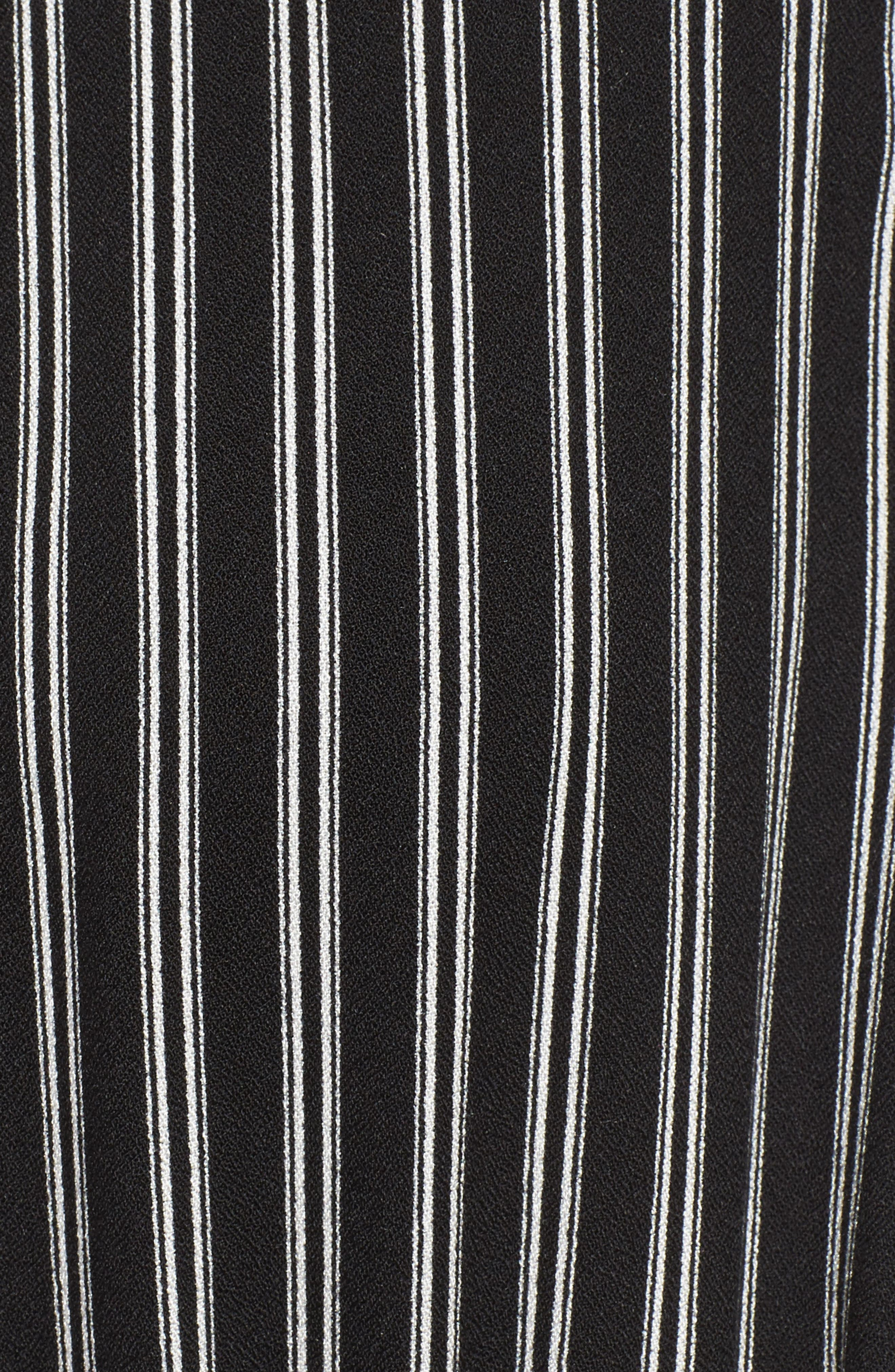 Faux Wrap Tie Sleeve Romper,                             Alternate thumbnail 5, color,                             Black White Stripe