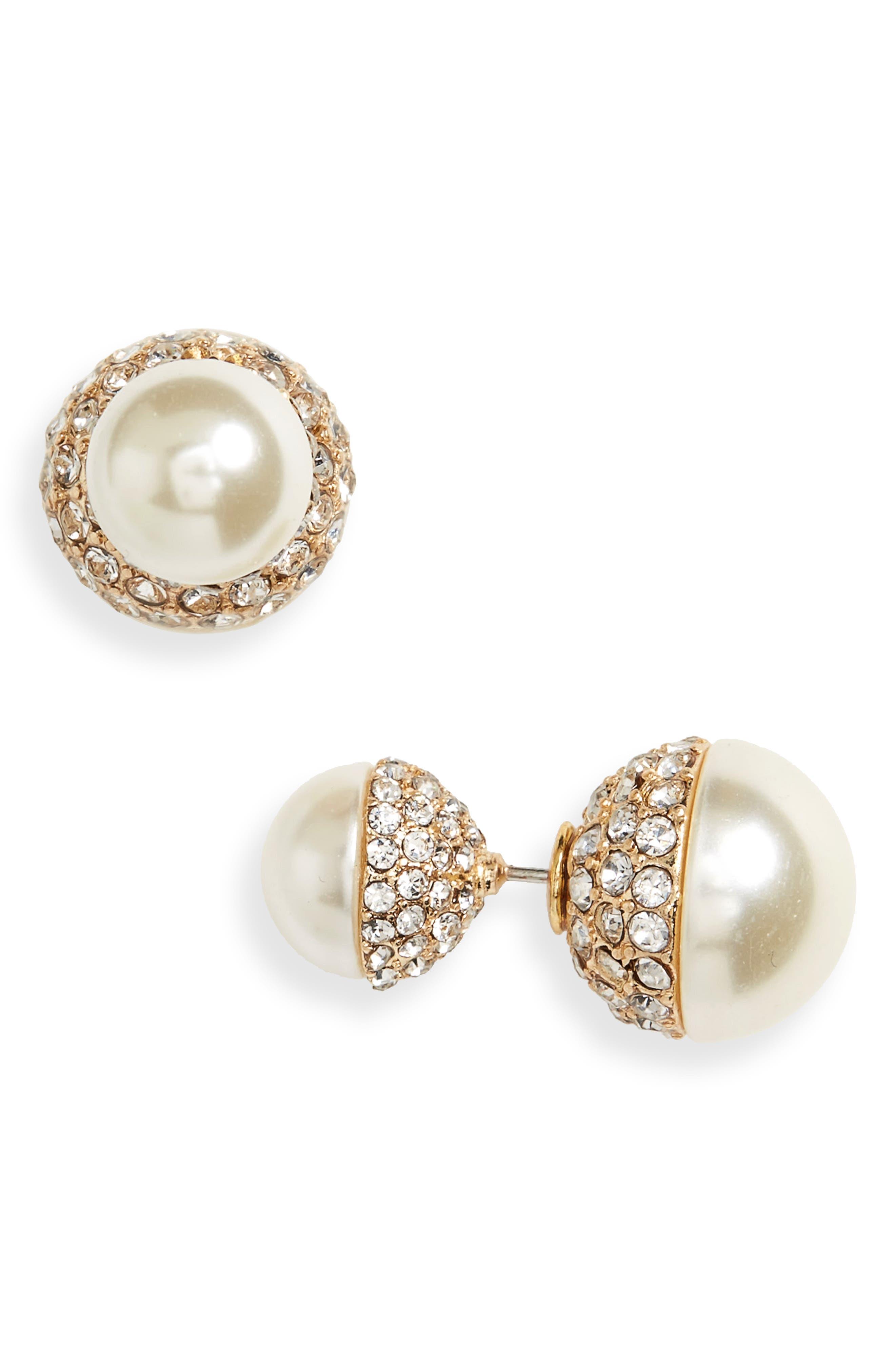 Alternate Image 1 Selected - Cara Imitation Pearl & Crystal Front/Back Earrings