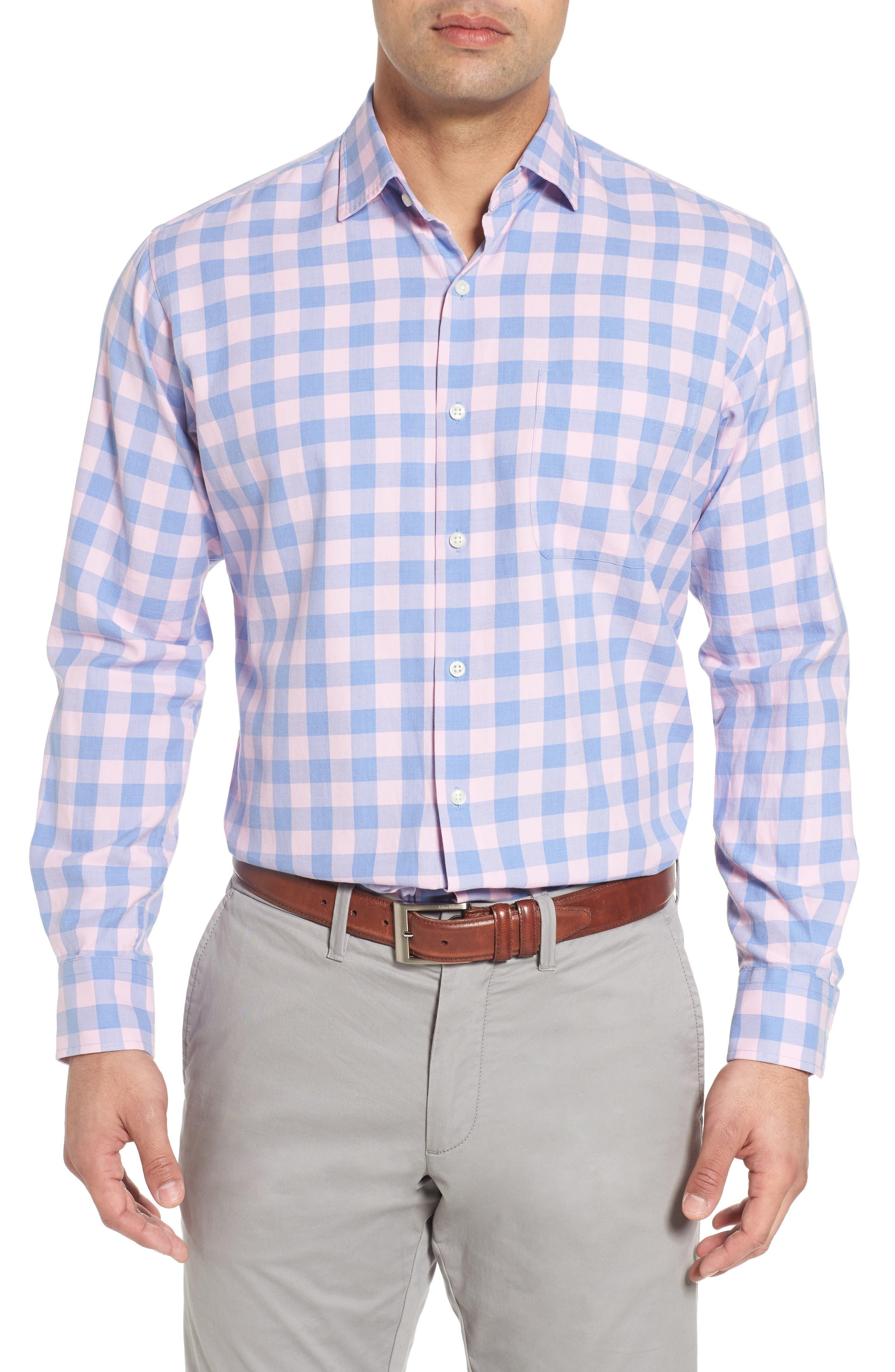 Seaglass Gingham Check Sport Shirt,                             Main thumbnail 1, color,                             Bonnet