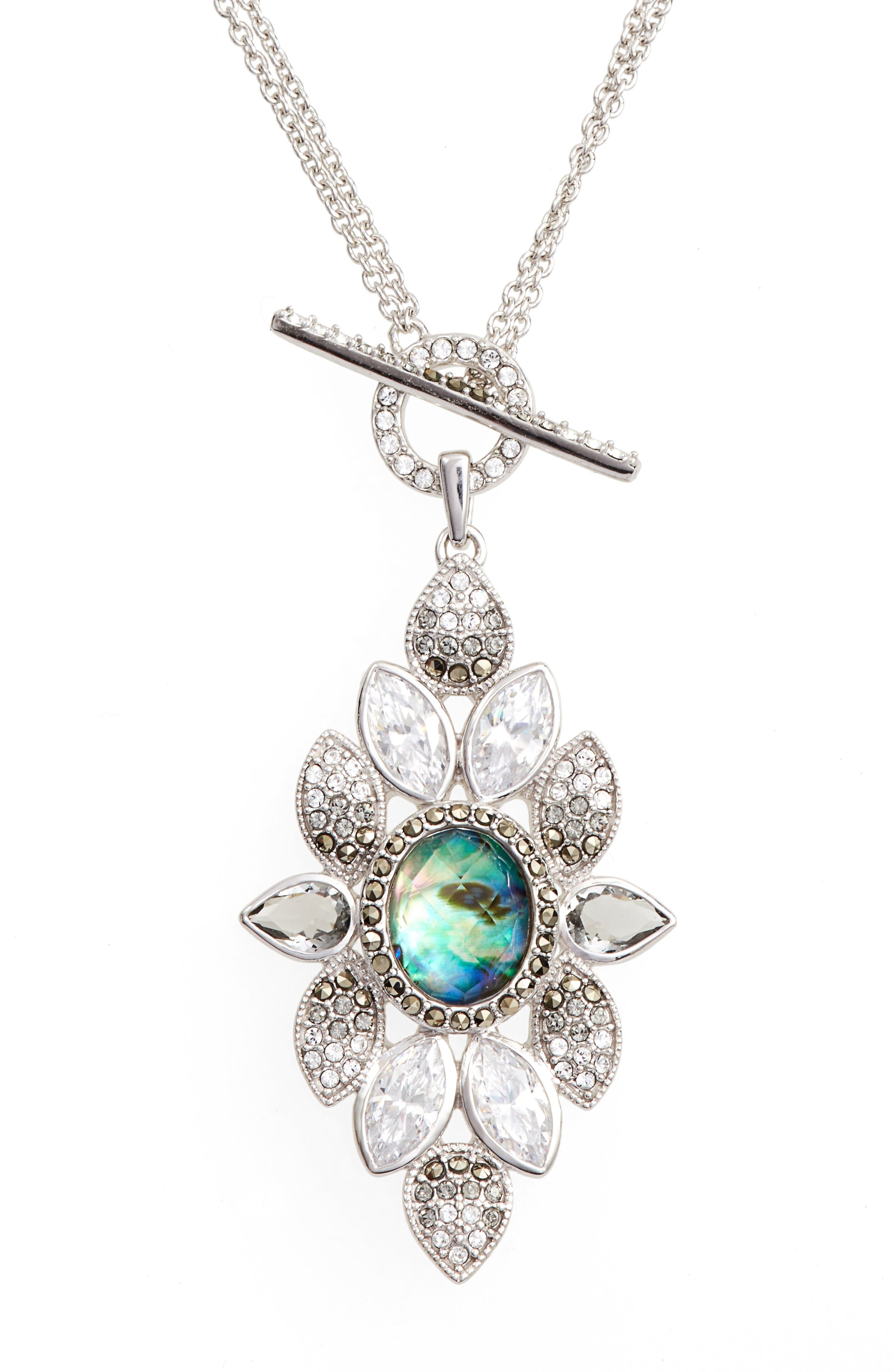 Crystal Pendant Necklace,                             Alternate thumbnail 2, color,                             Abalone/ Silver
