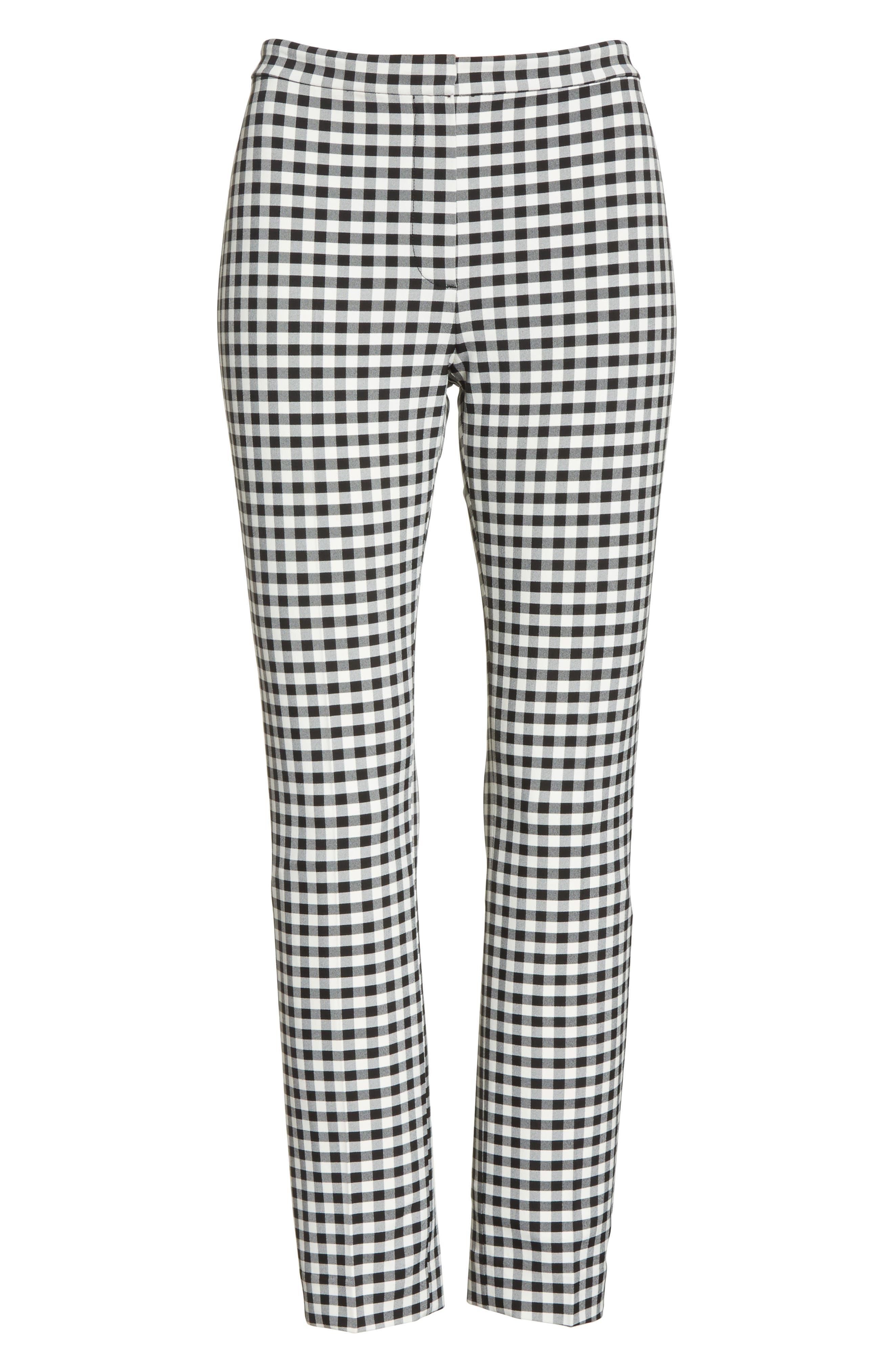 Gingham Classic Skinny Pants,                             Alternate thumbnail 6, color,                             Black/ White