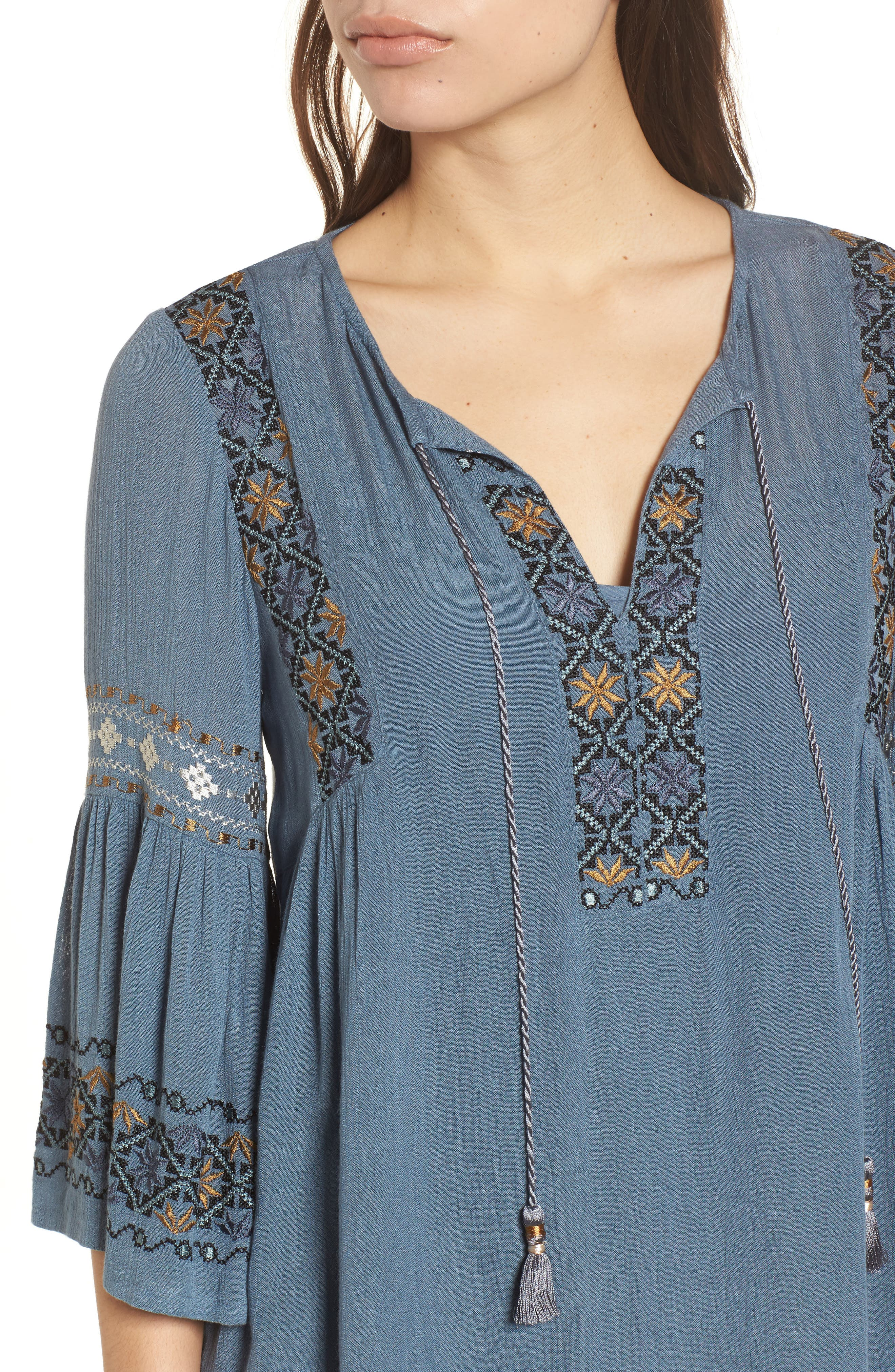Embroidered Bell Sleeve Dress,                             Alternate thumbnail 4, color,                             China Blue