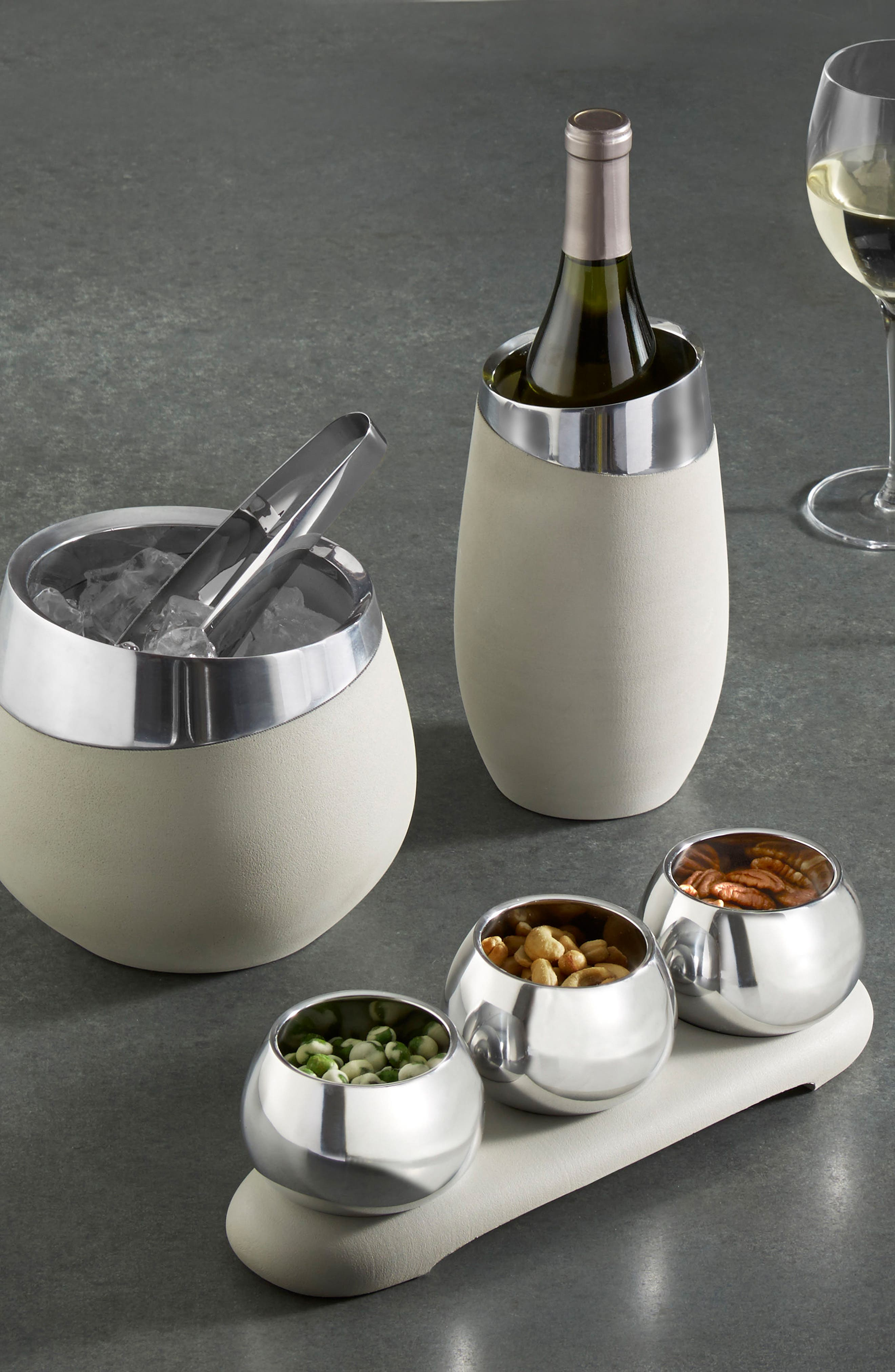 Forte 4-Piece Condiment Serving Set,                             Alternate thumbnail 4, color,                             Silver/ Grey