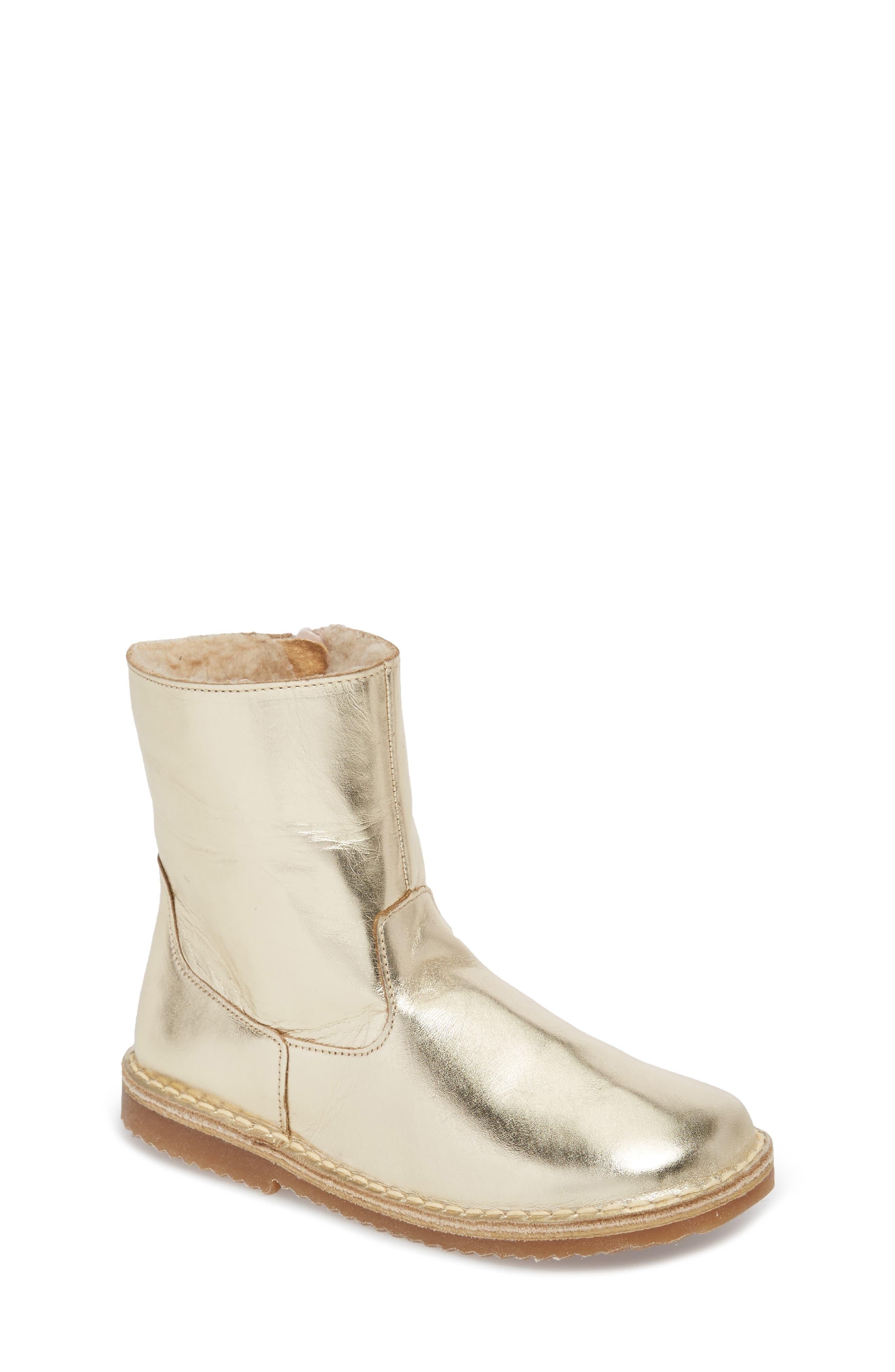 Faux Fur Glitter Star Boot,                         Main,                         color, Metallic Light Gold