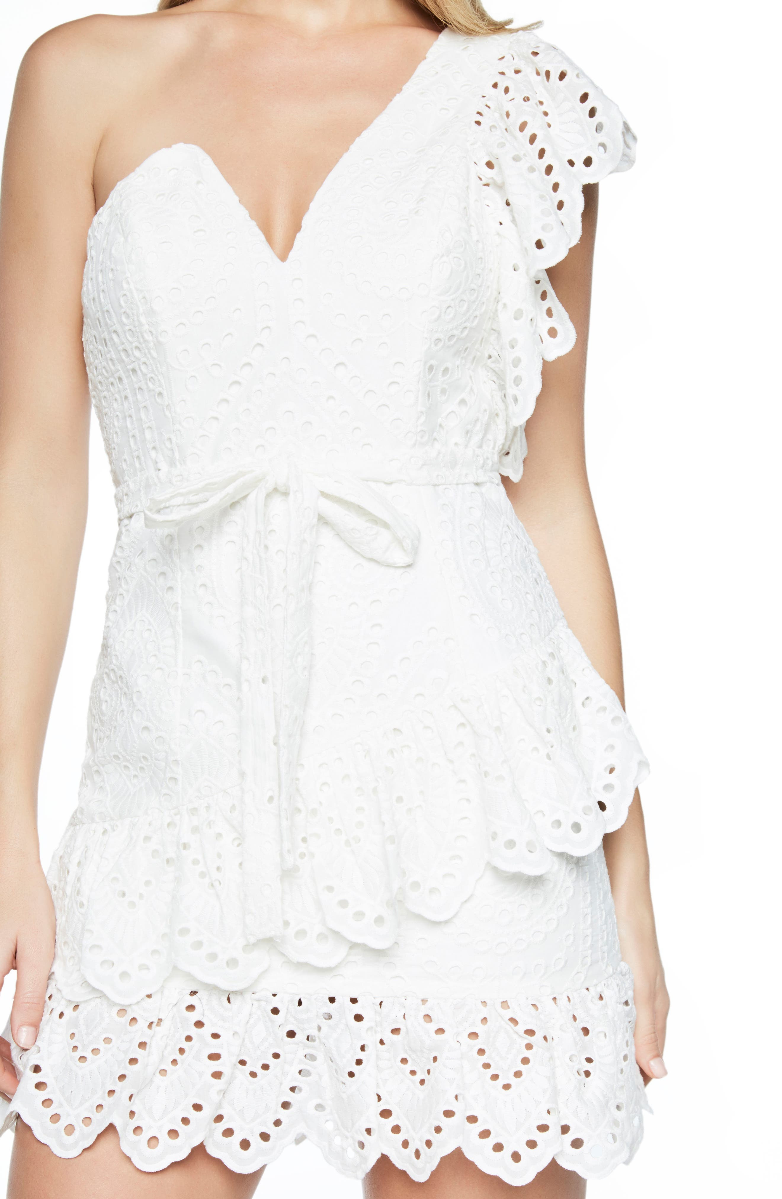 Frill Shoulder Minidress,                             Alternate thumbnail 4, color,                             White