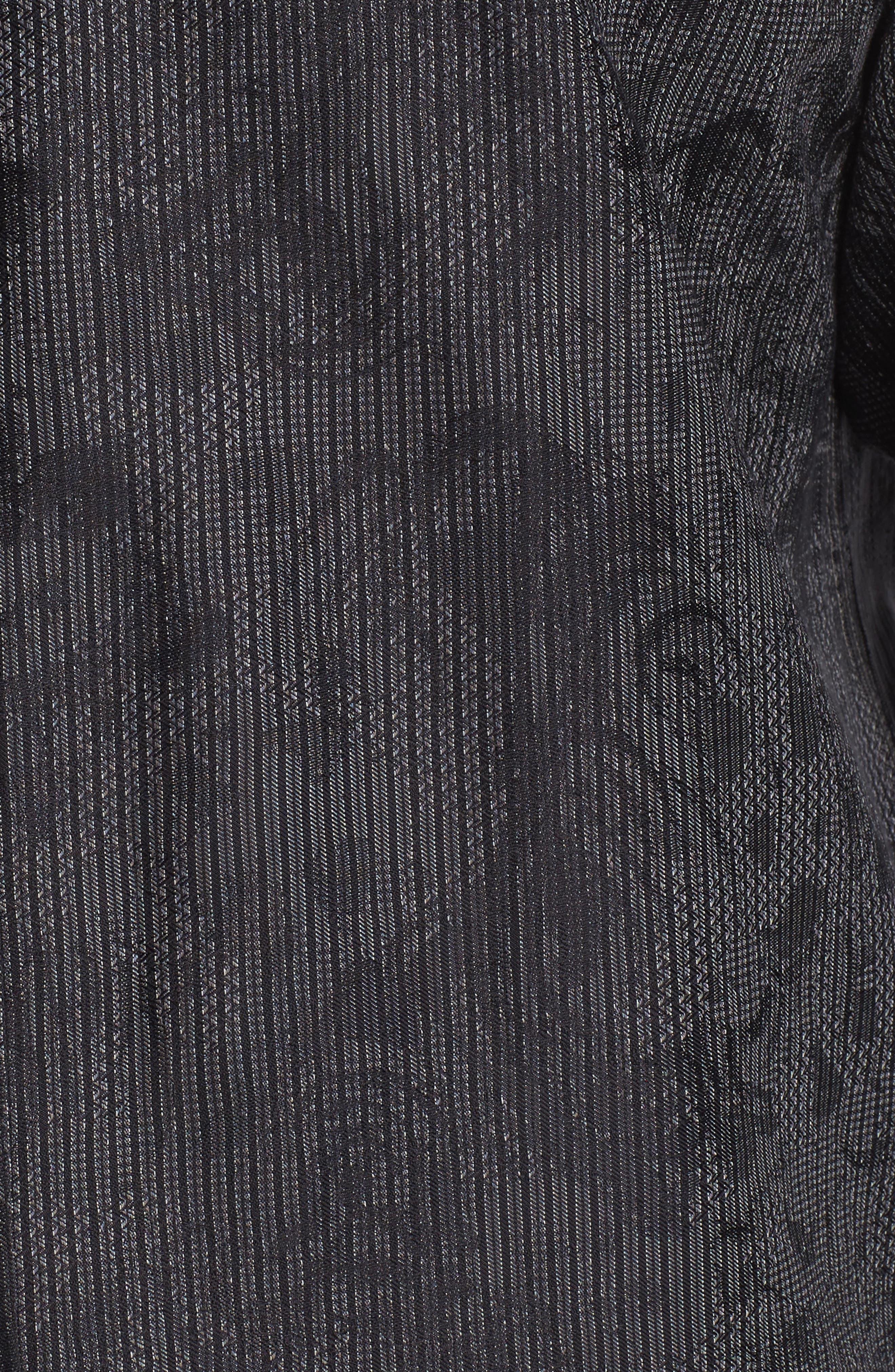 Shaped Fit Print Sport Shirt,                             Alternate thumbnail 5, color,                             Black