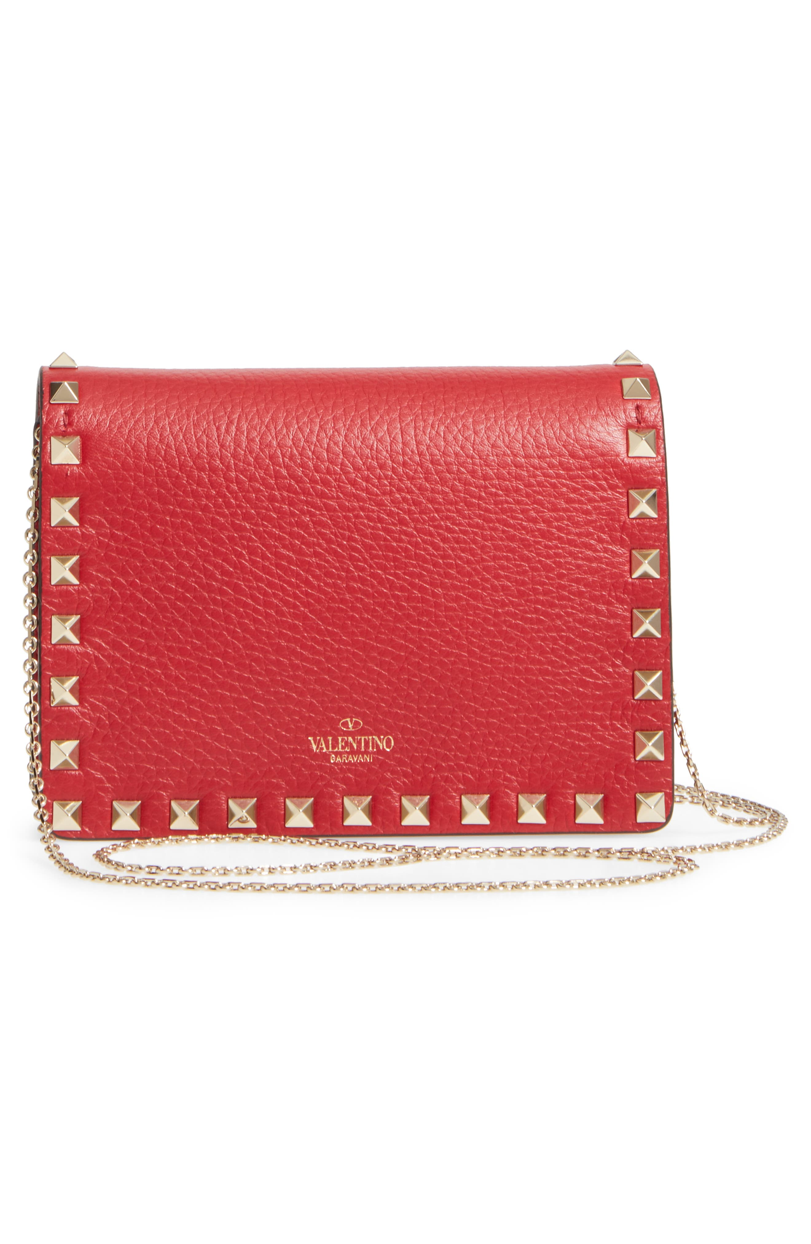 Rockstud Leather Pouch Wallet on a Chain,                             Alternate thumbnail 3, color,                             Rossa