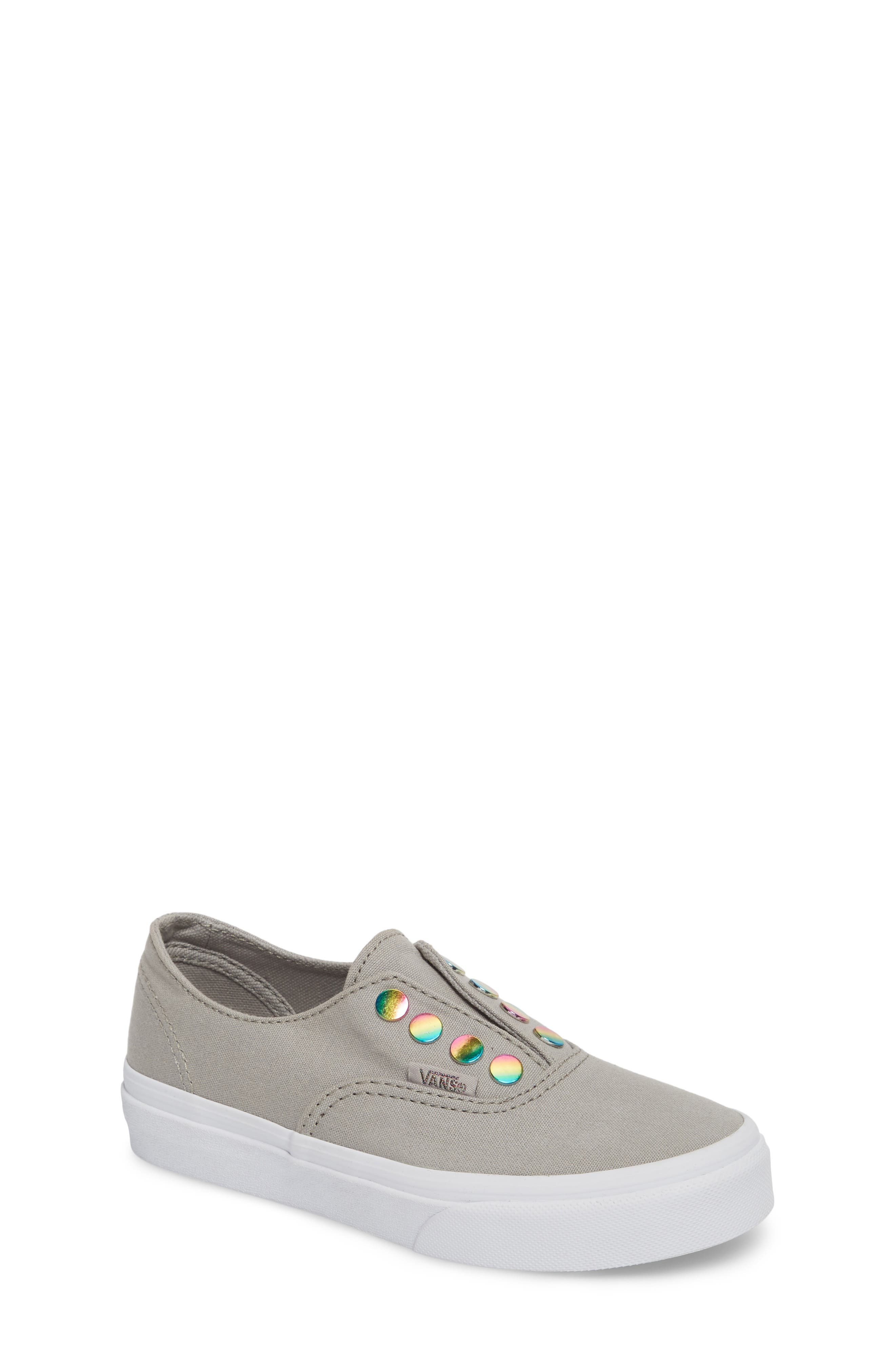 Authentic Gore Slip-On Sneaker,                             Main thumbnail 1, color,                             Drizzle/ Rainbow Eyelet