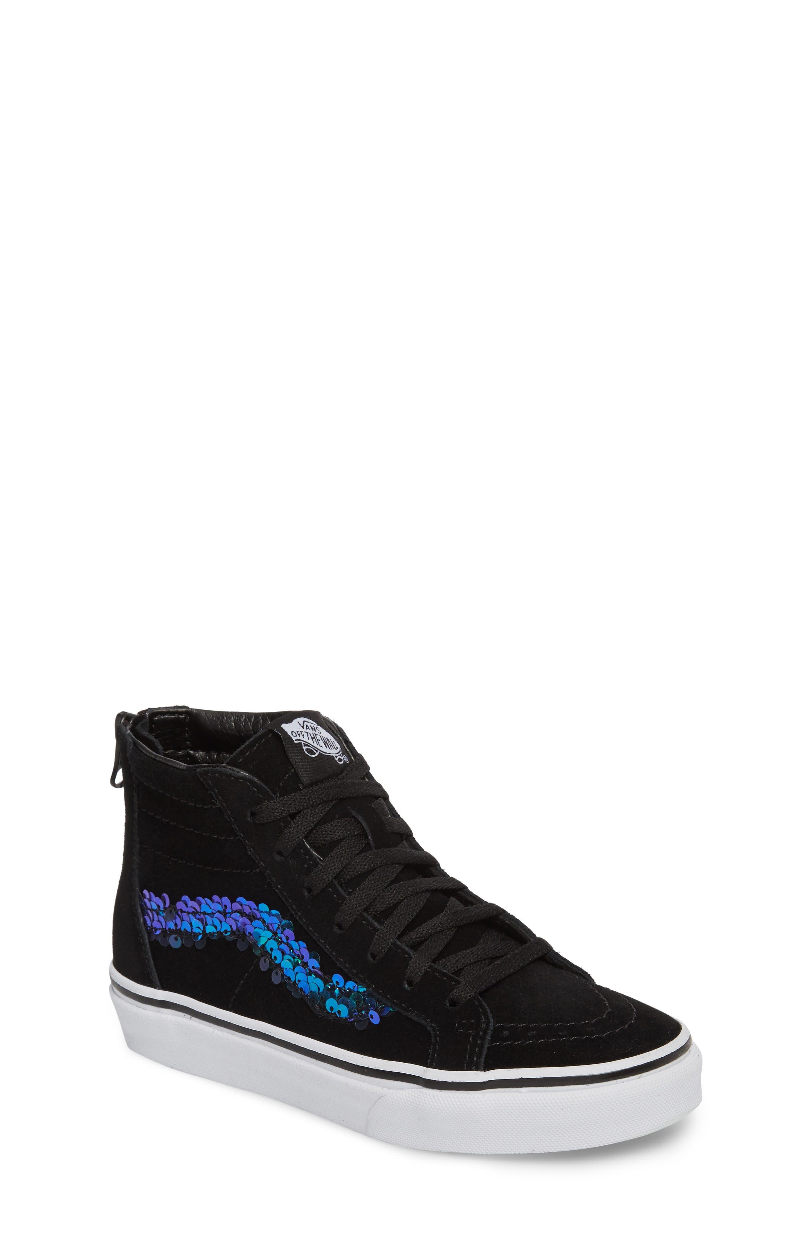 Vans Sk8-Hi Zip Sequin Stripe High Top Sneaker (Toddler, Little Kid & Big Kid)