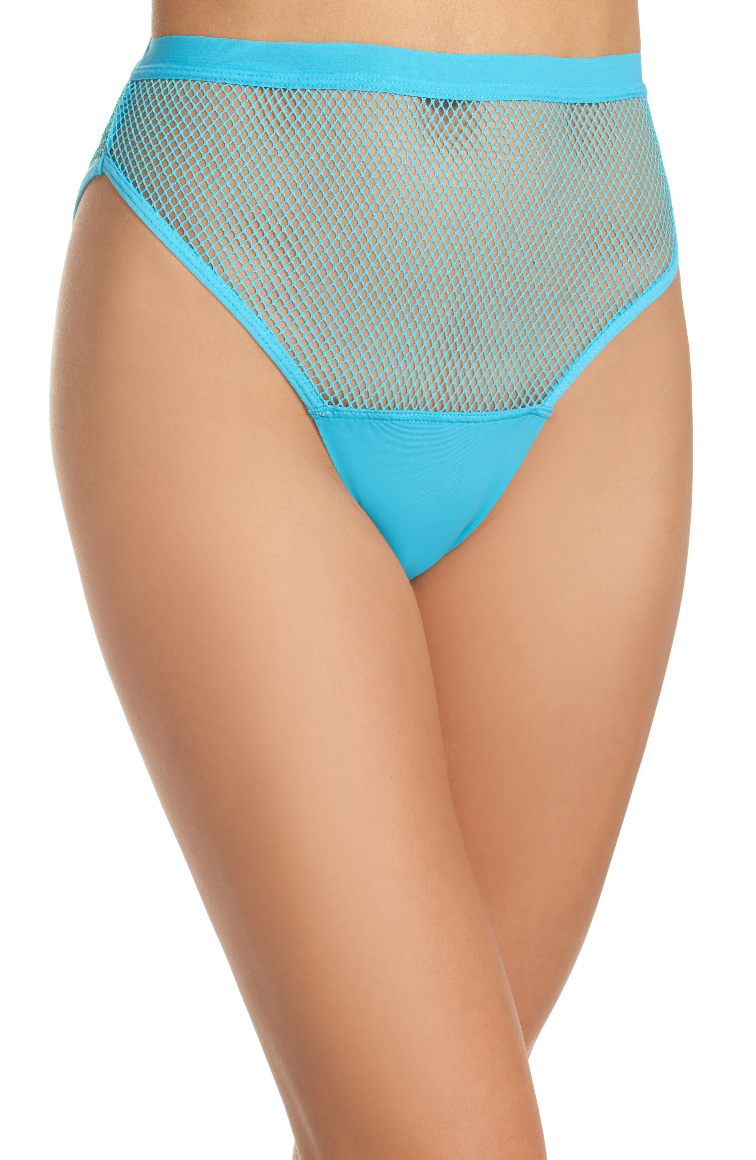 Honeydew High Waist Fishnet Panties,                             Main thumbnail 1, color,                             Sea Breezer