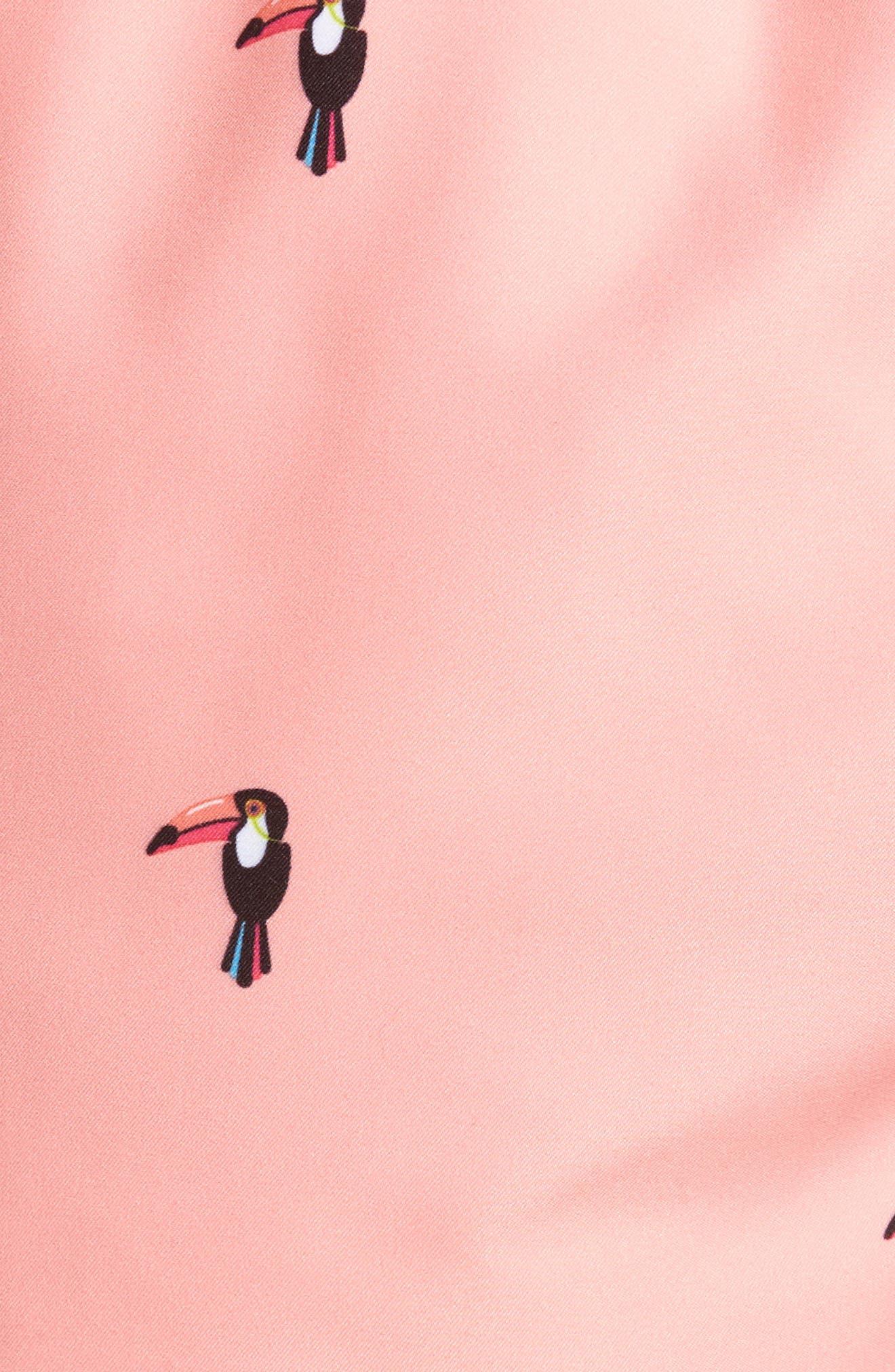 Slim Fit Toucan Swim Trunks,                             Alternate thumbnail 5, color,                             Peach