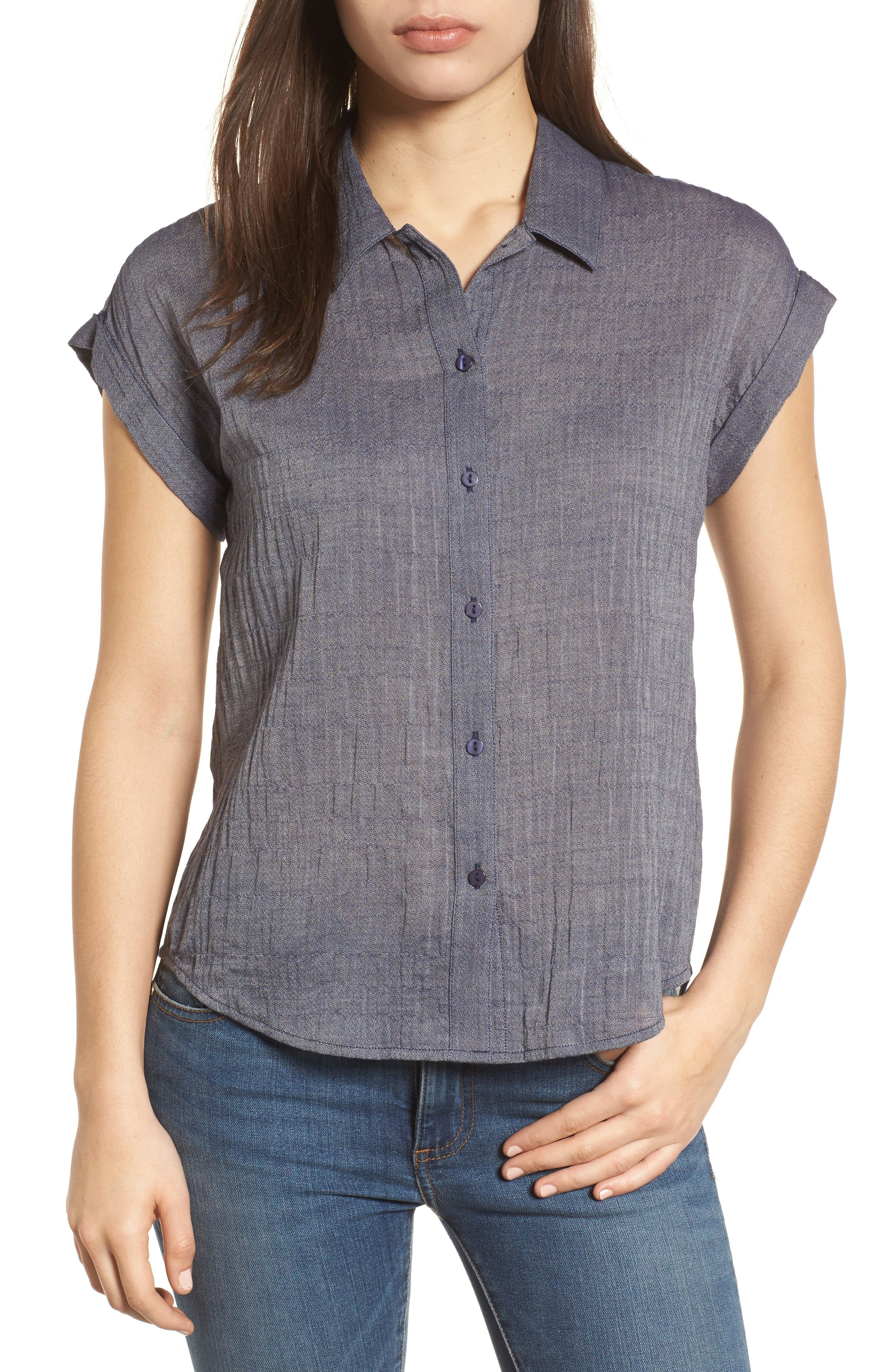 Solid Short Sleeve High/Low Top,                         Main,                         color, Chambray