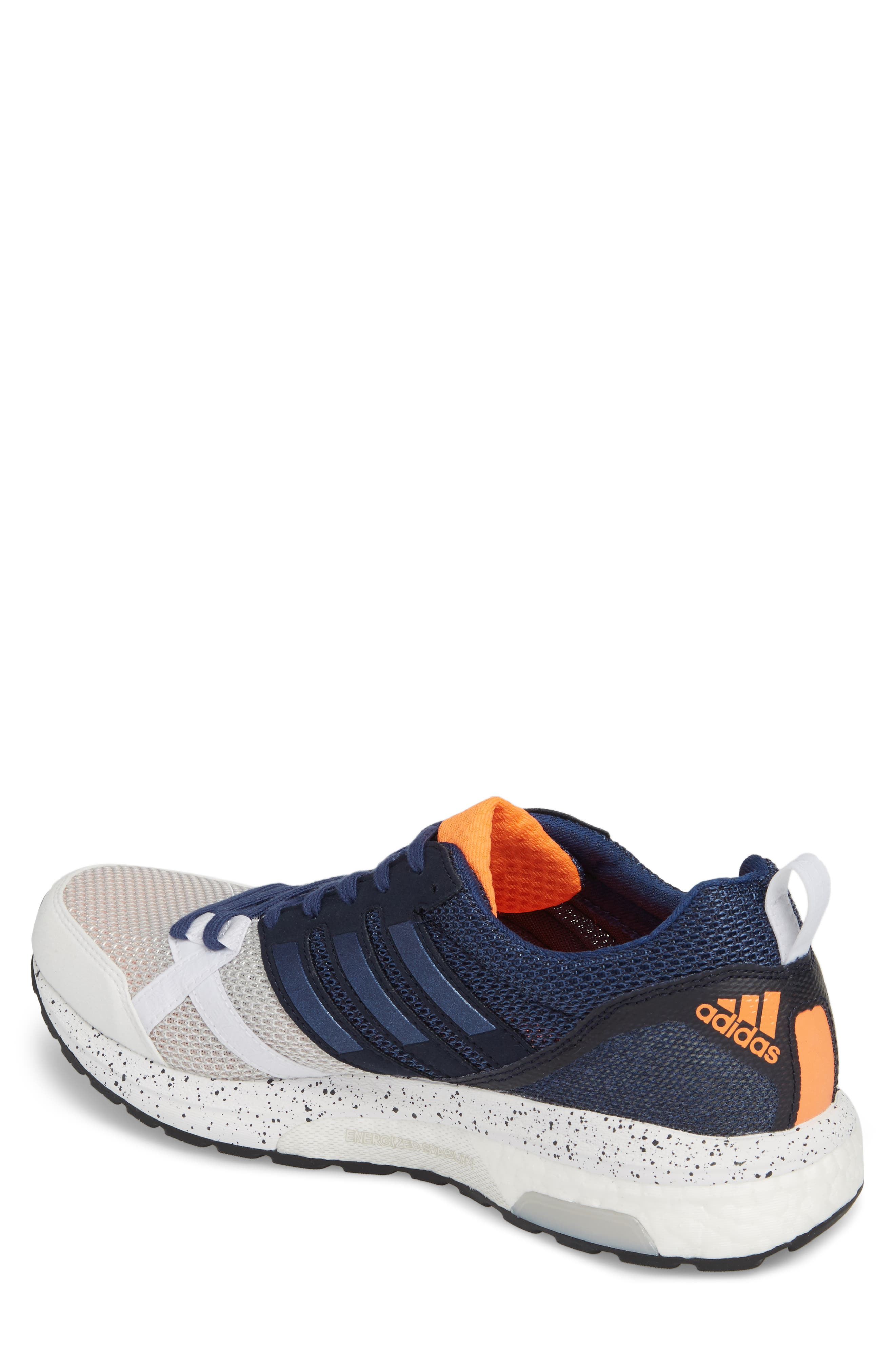 Adizero Tempo 9 M Running Shoe,                             Alternate thumbnail 2, color,                             White/ Indigo/ Core Black