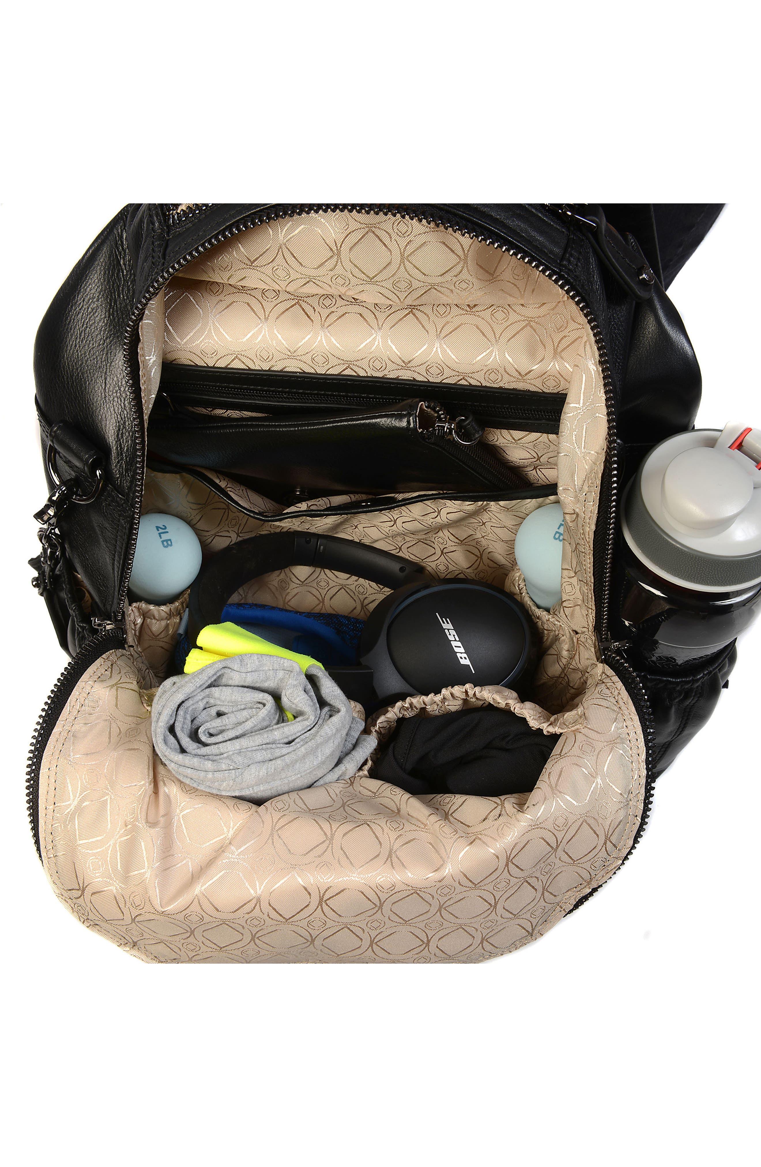 Joy XL Leather Backpack,                             Alternate thumbnail 10, color,                             Black