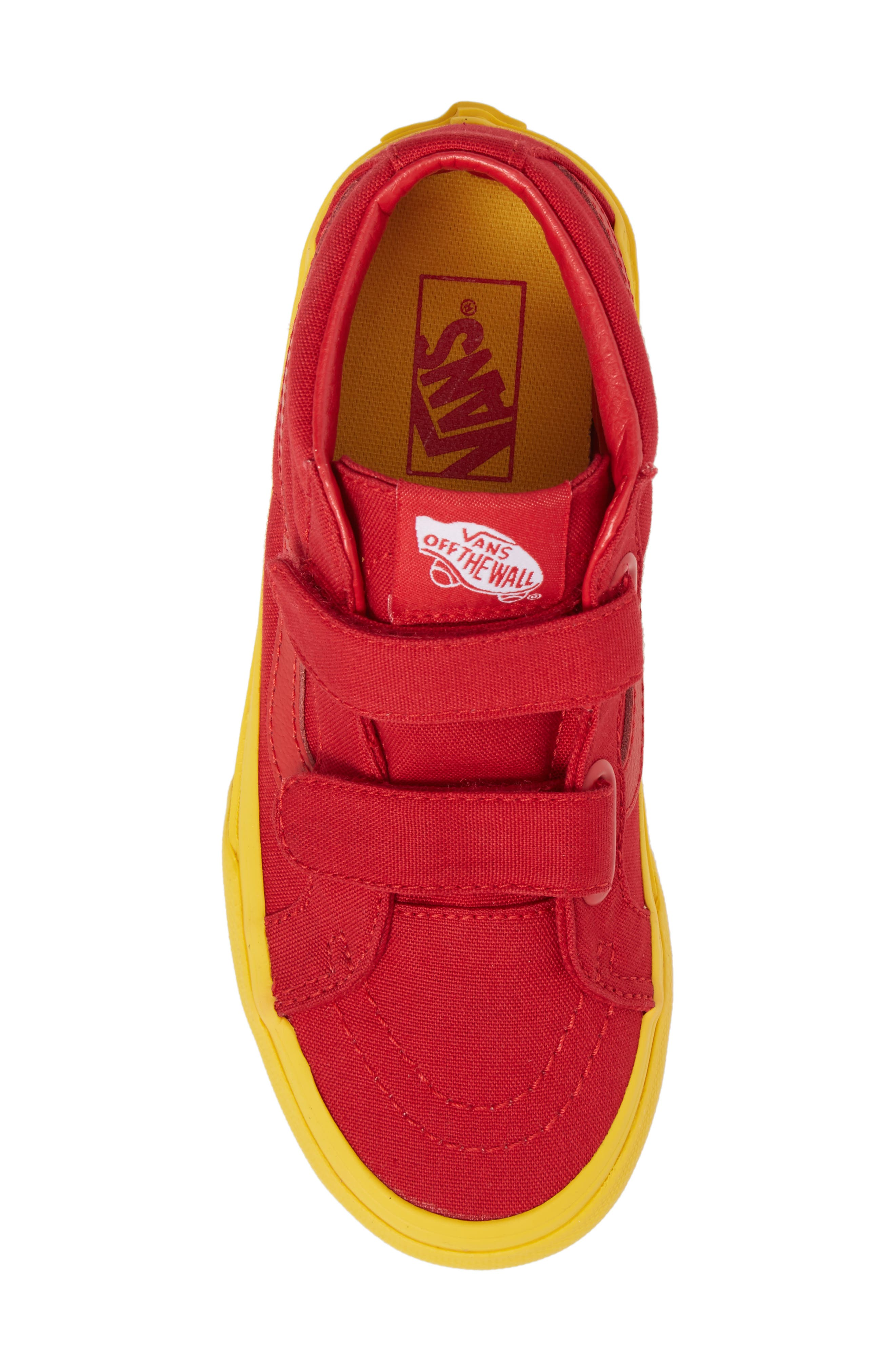 Sk8-Mid Reissue Sneaker,                             Alternate thumbnail 5, color,                             Red/ Gold Cosplay