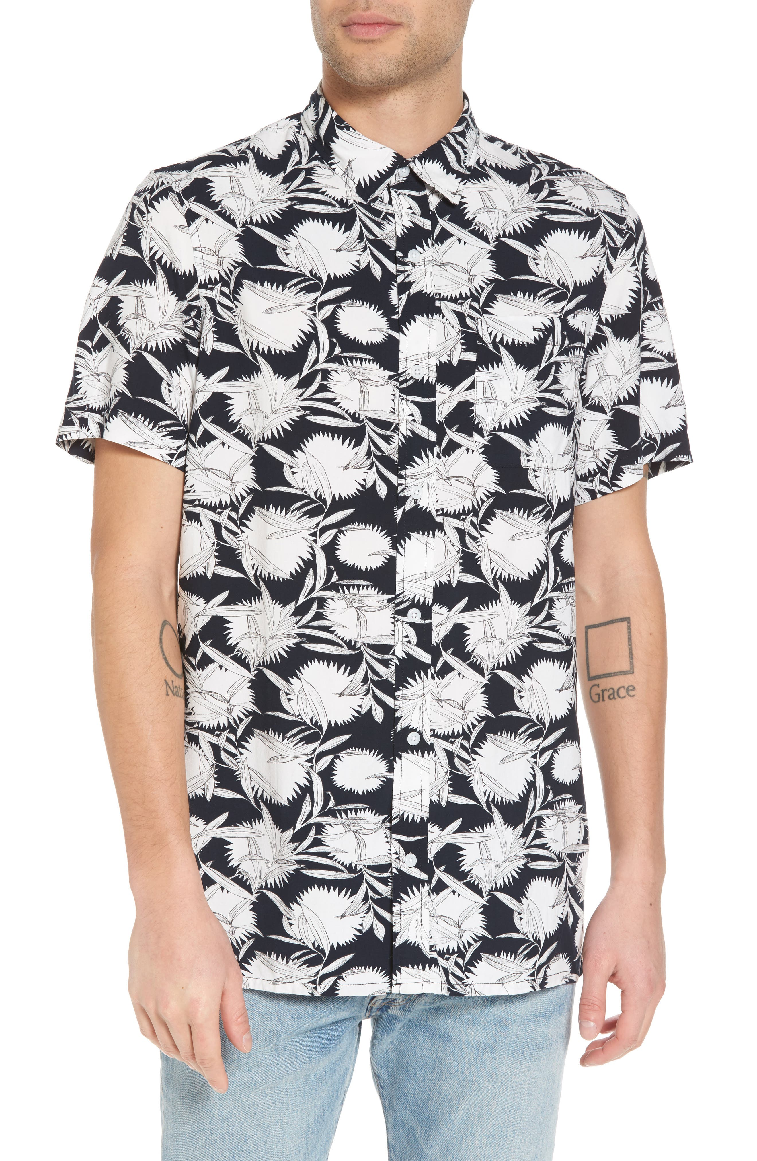 Print Woven Shirt,                         Main,                         color, Black White Flower Leaf
