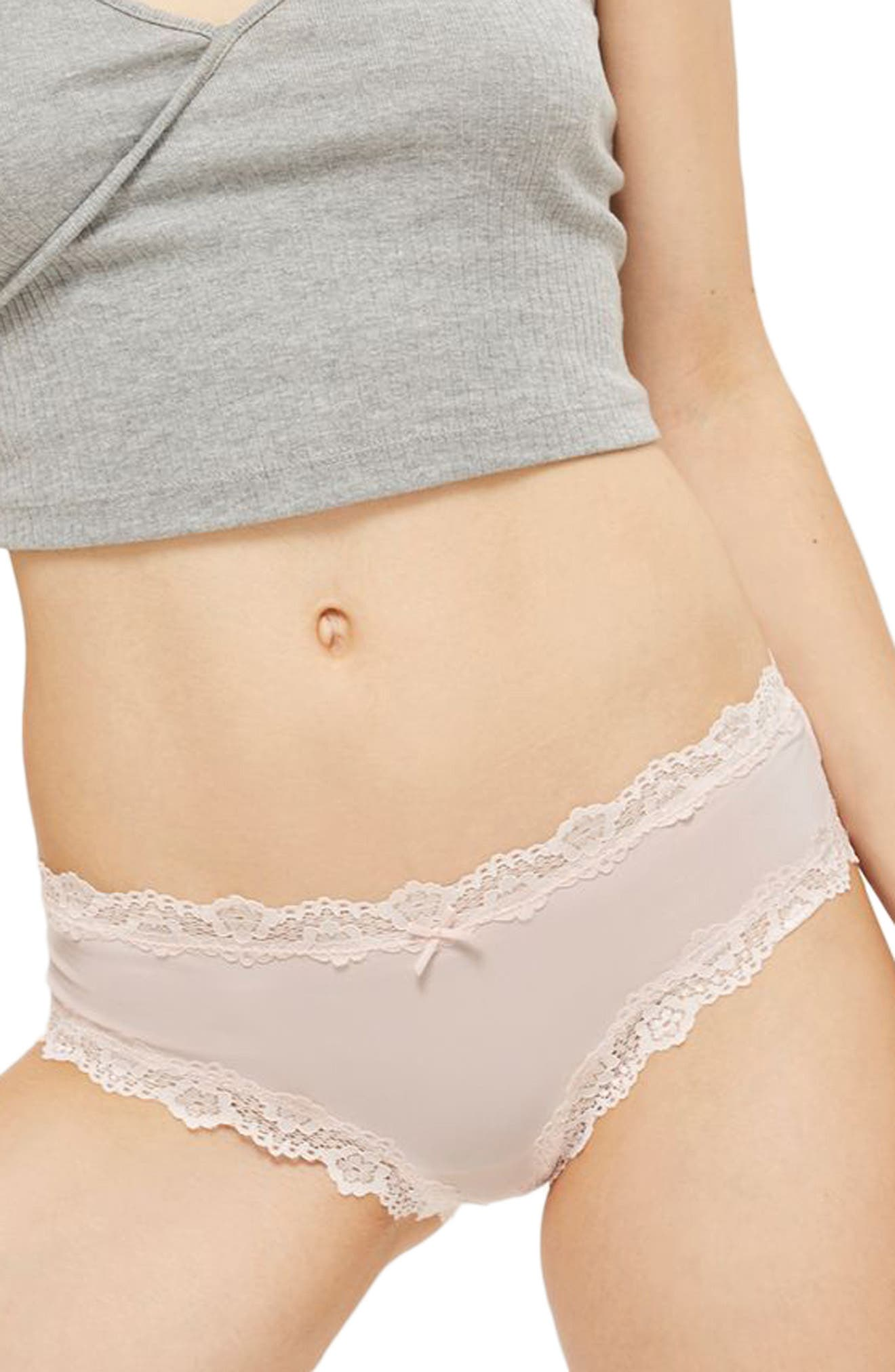 Main Image - Topshop Dorothy Lace Microfiber Hipster Briefs