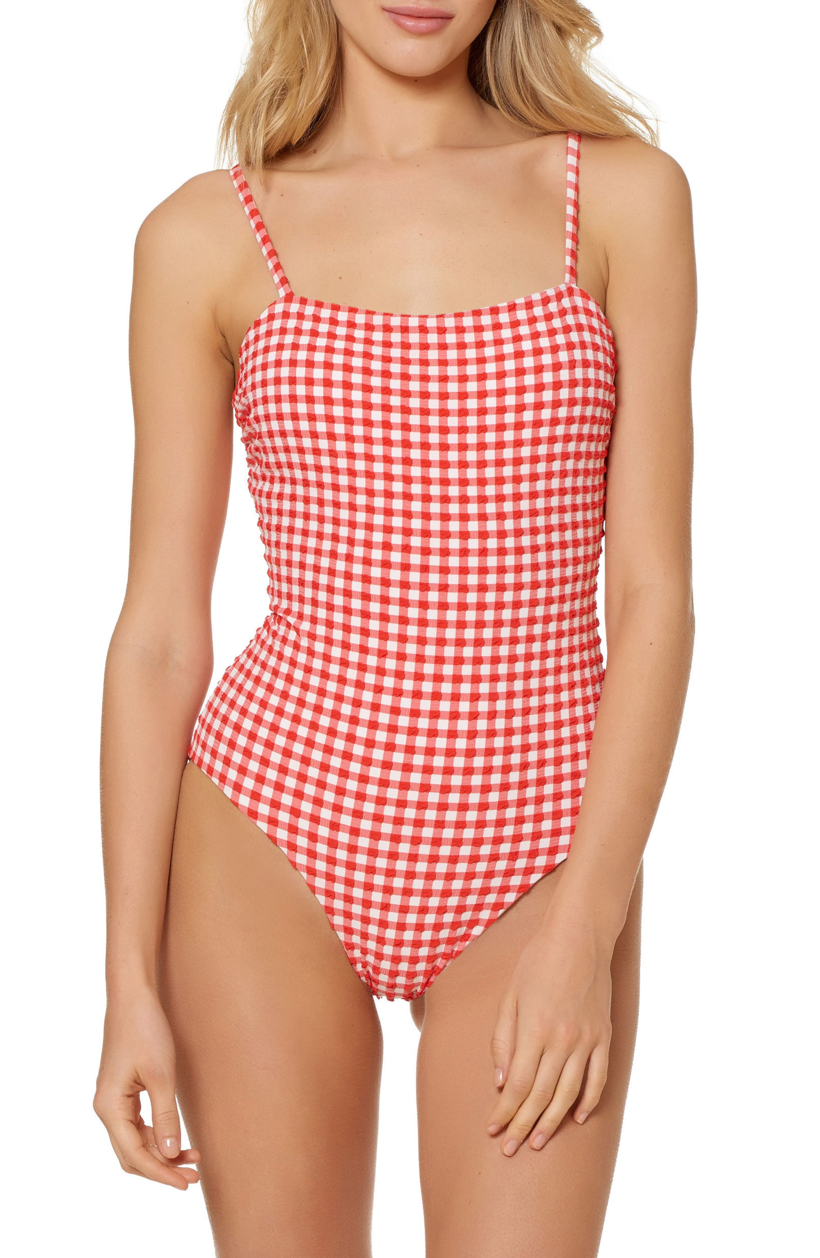 Gingham One-Piece Swimsuit,                             Main thumbnail 1, color,                             Red